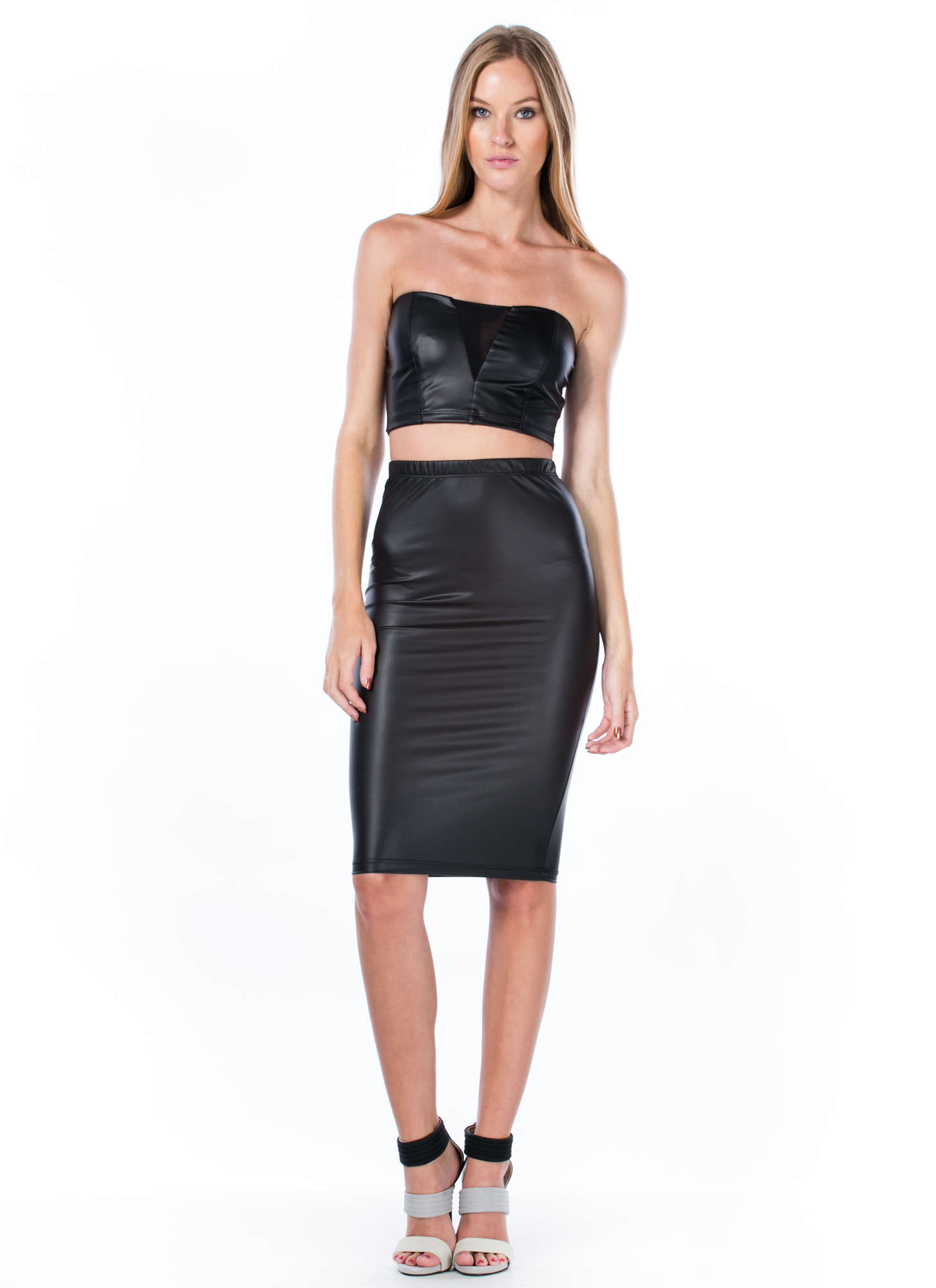 Coated Mesh Inset Cropped Top BLACK