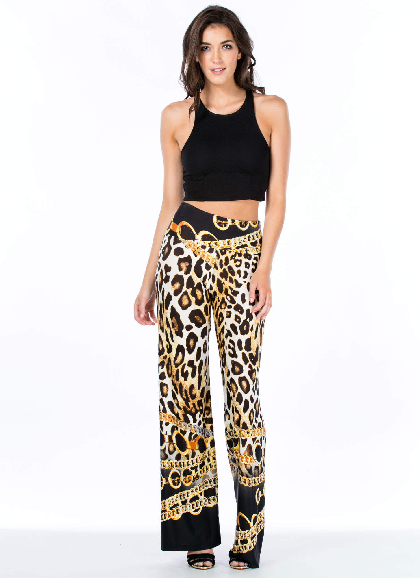 Chained Animal Leopard Palazzo Pants BLKGOLD