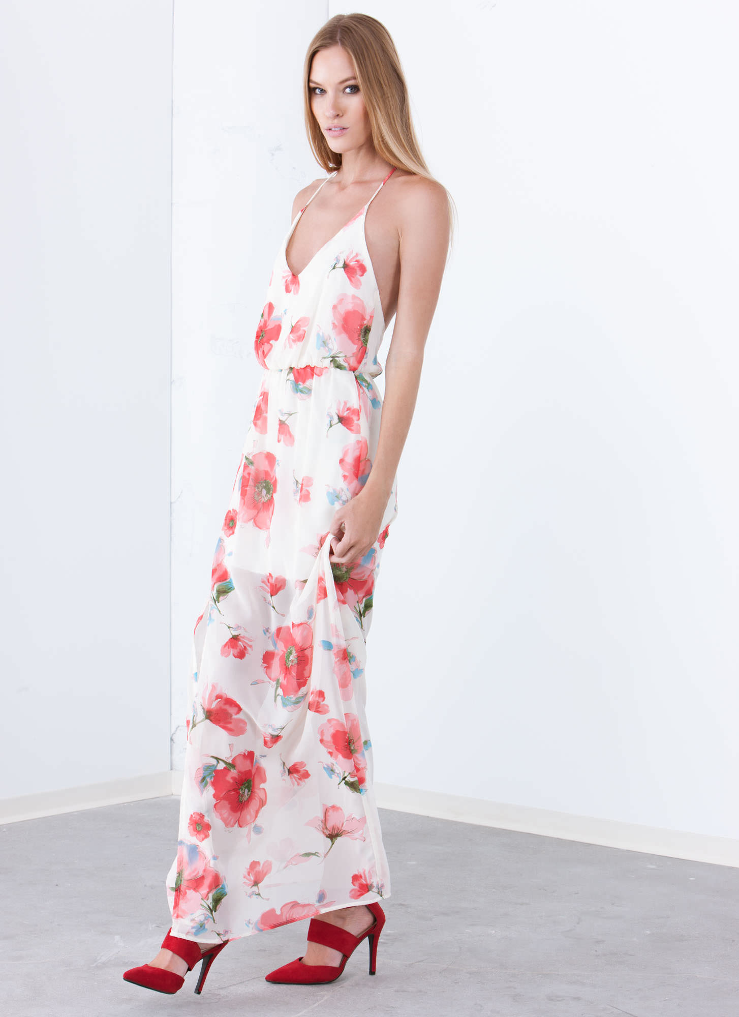 Floral Blooms T-Back Maxi Dress CORAL