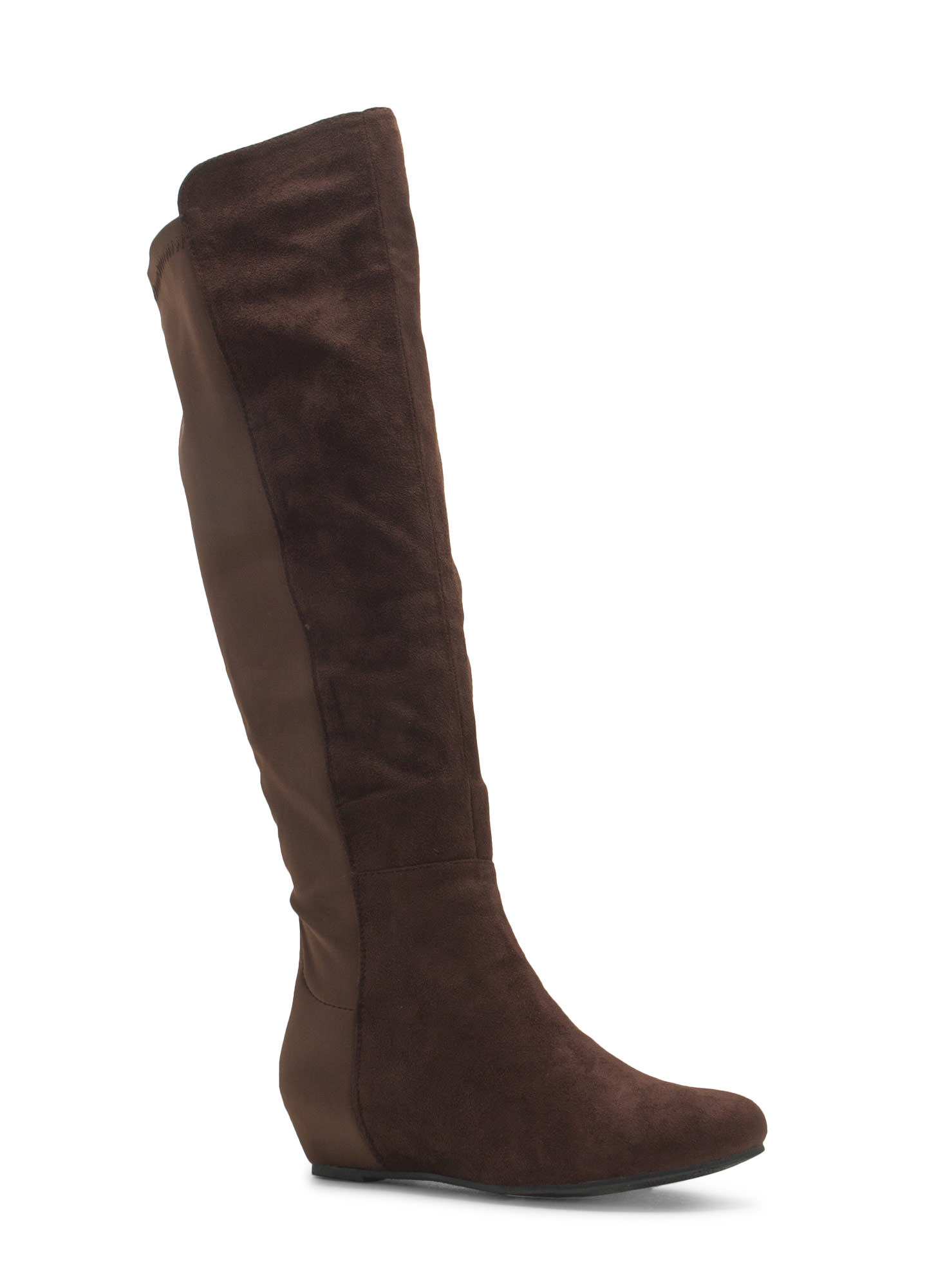 So Sleek Faux Suede Over-The-Knee Boots BROWN