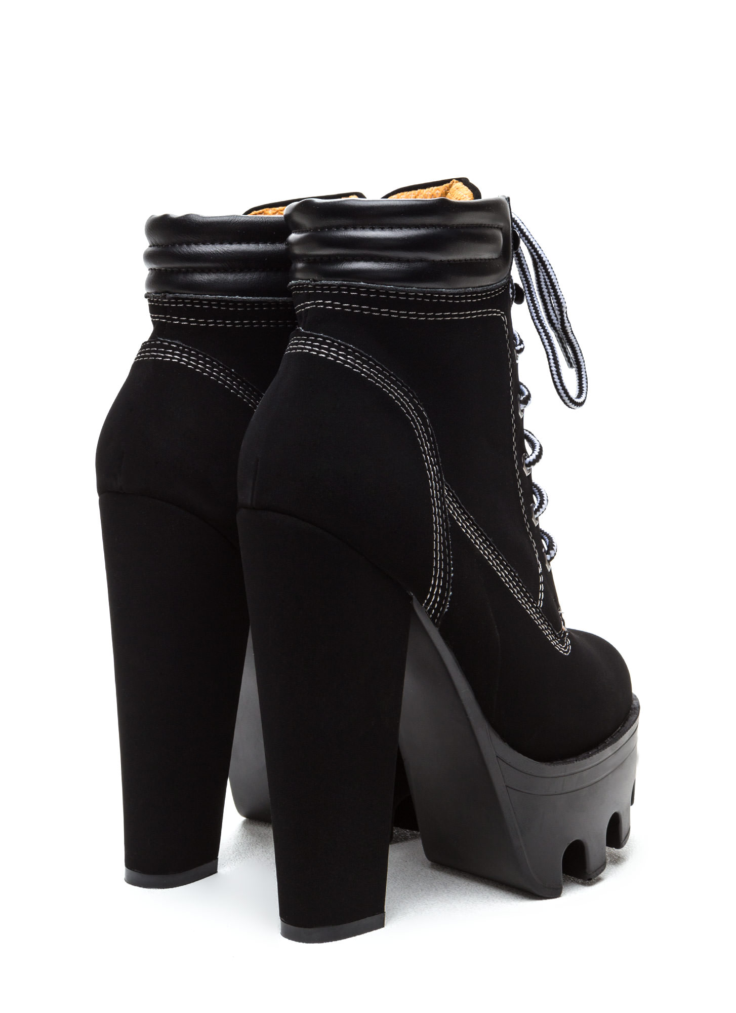 Tread Ruggedly Chunky Lug Booties BLACK