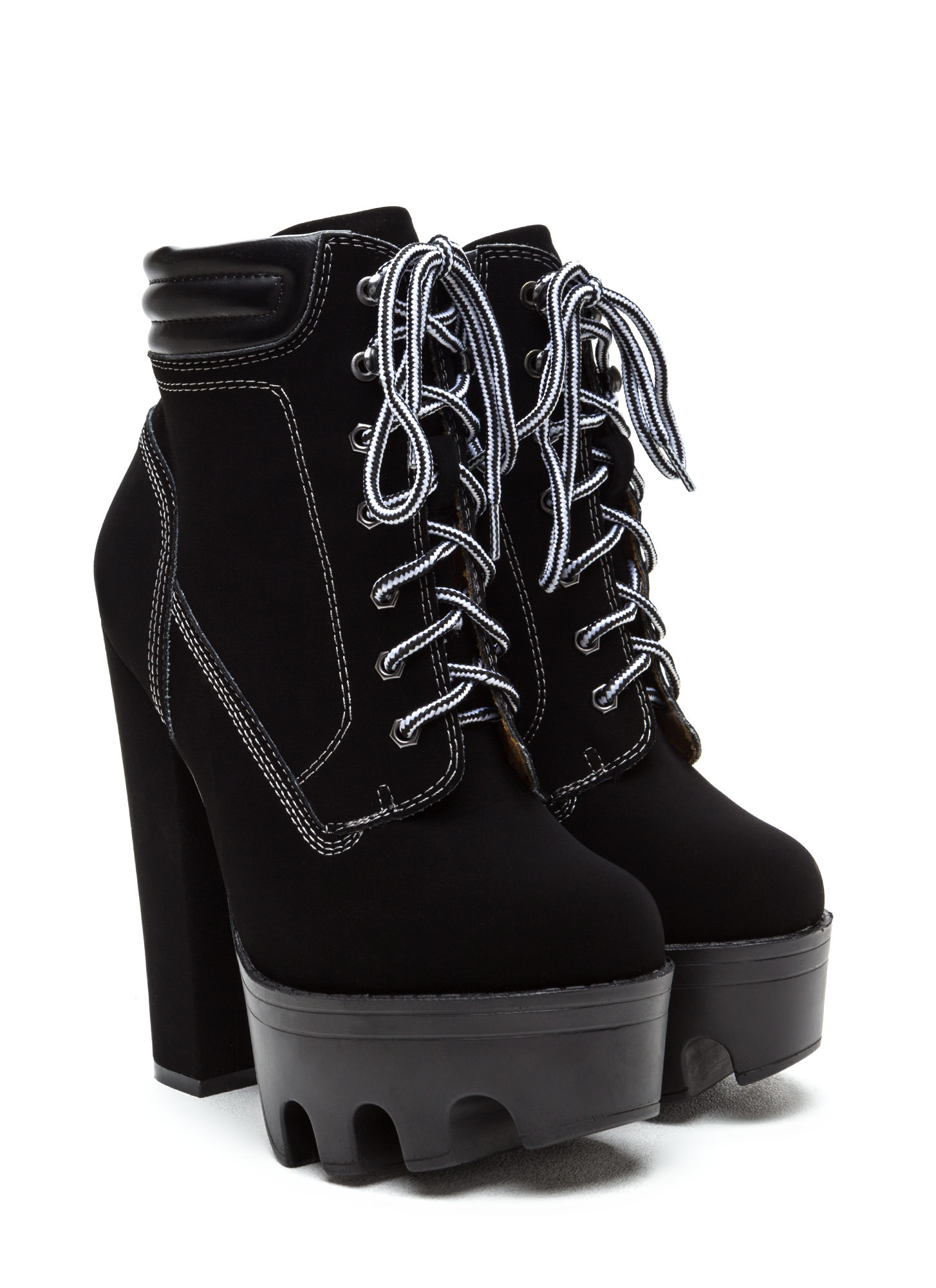 Tread Ruggedly Faux Nubuck Booties BLACK
