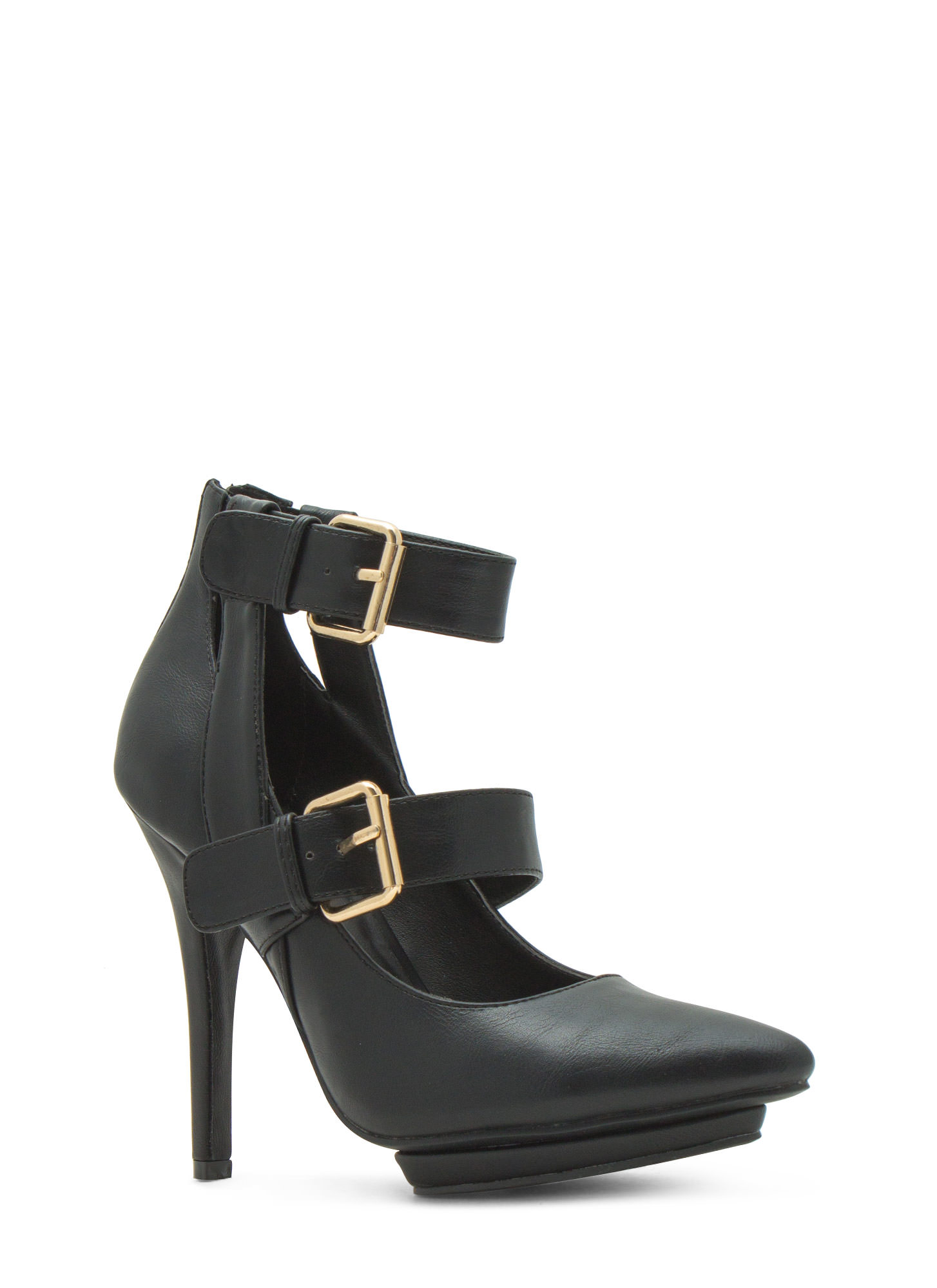 Double Trouble Strappy Heels BLACK