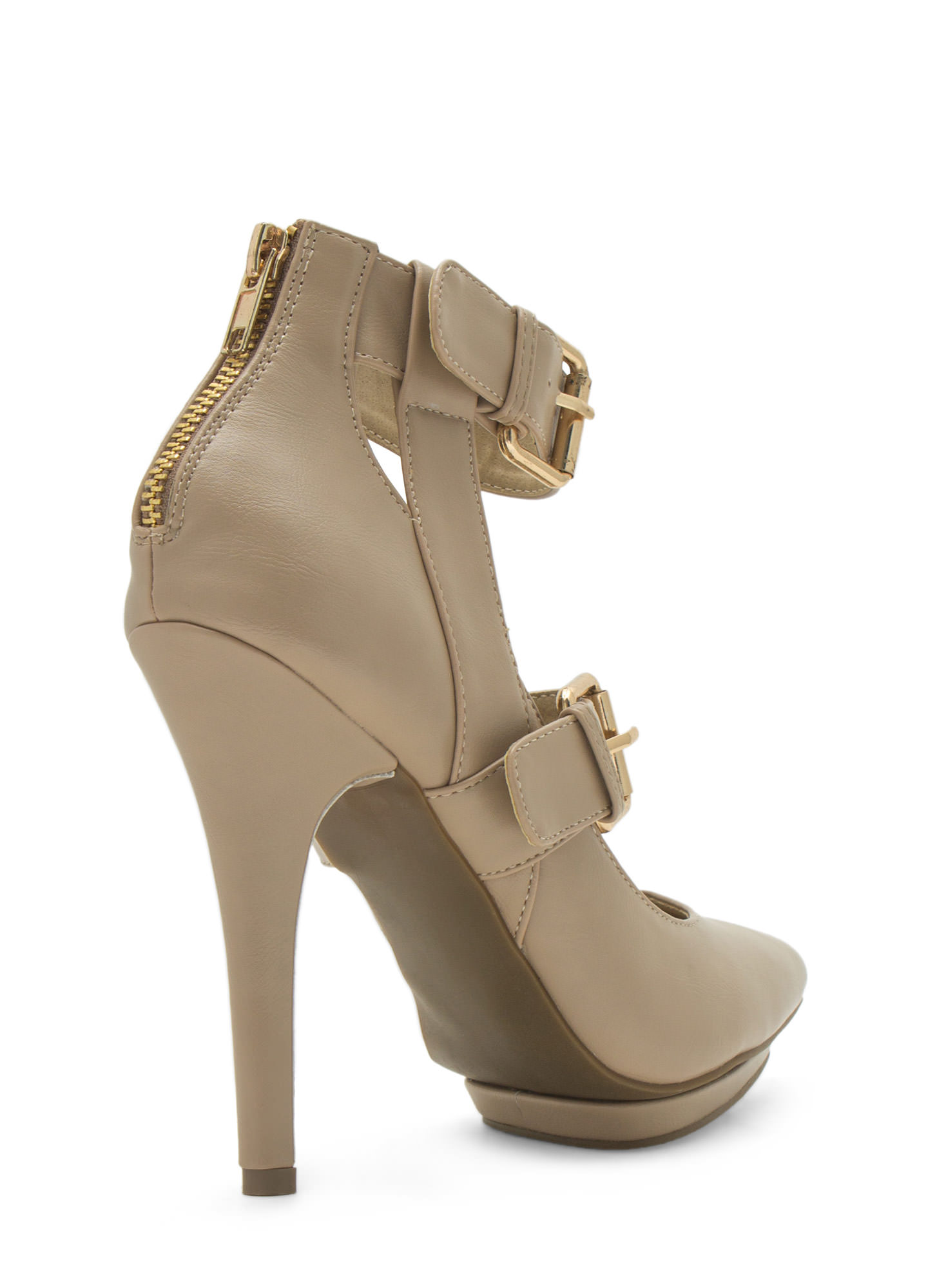 Double Trouble Strappy Heels NUDE