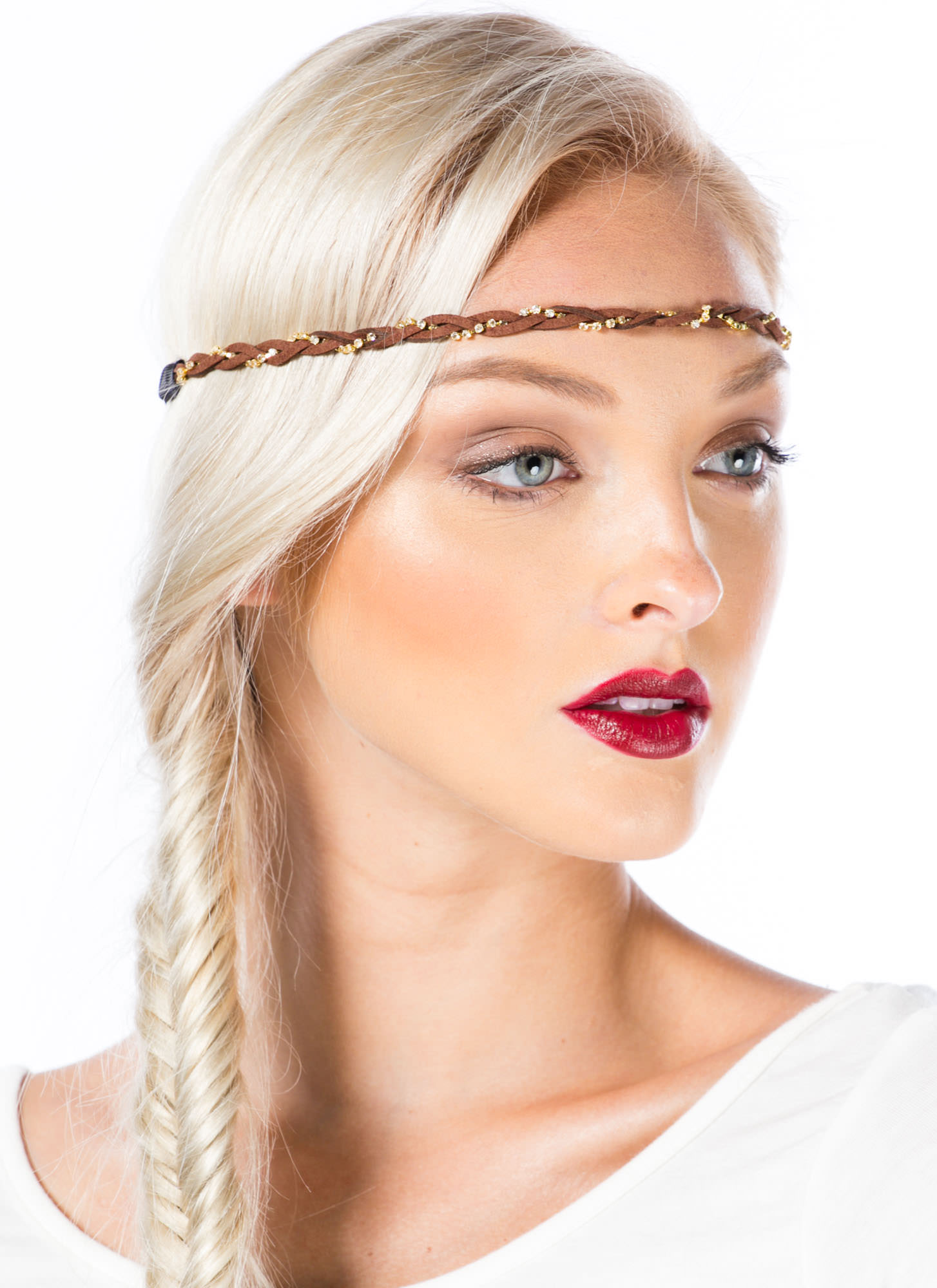 Jeweled Braid Headband CAMELGOLD
