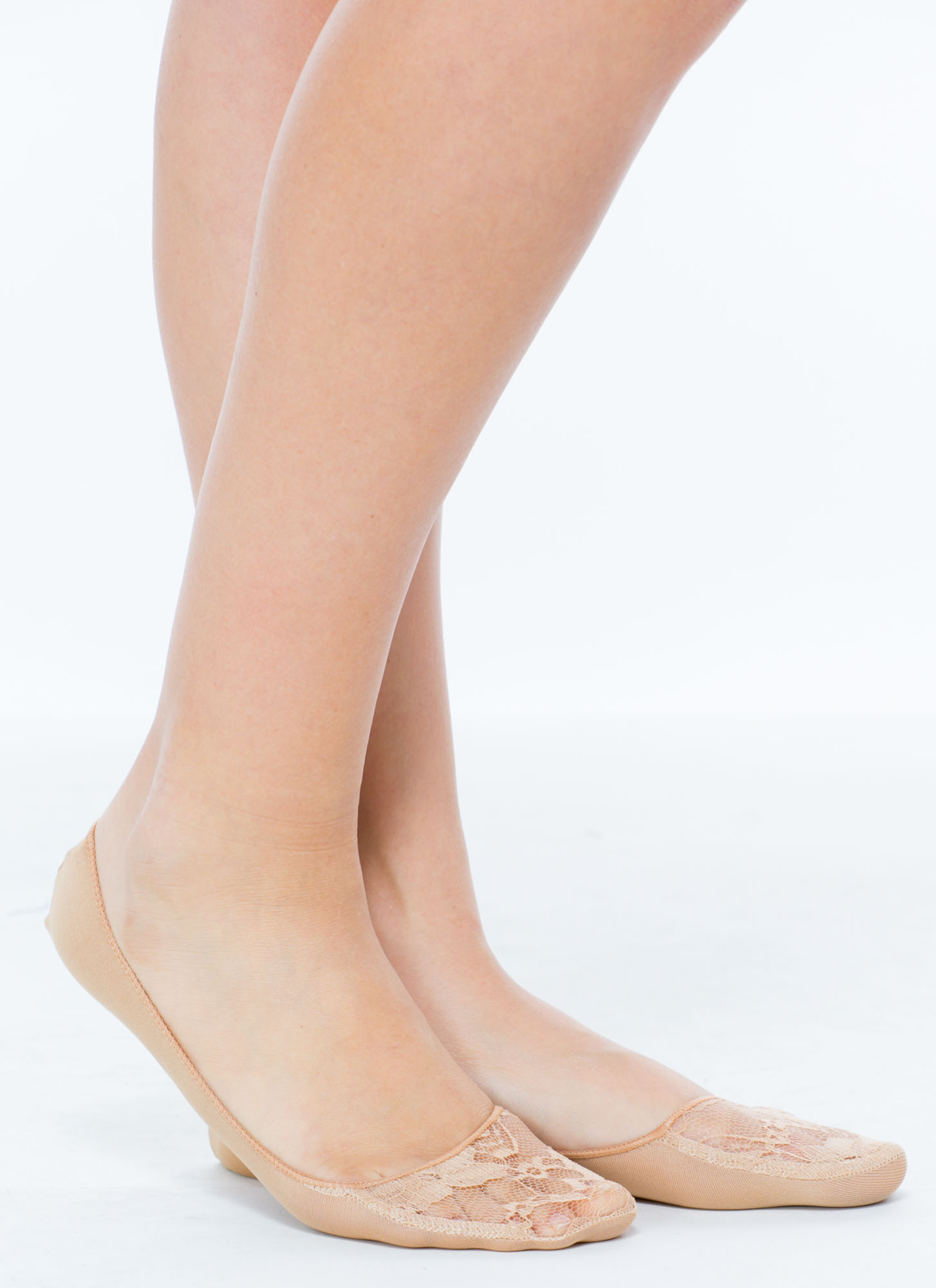 Floral Lace Inset No-Show Socks NUDE