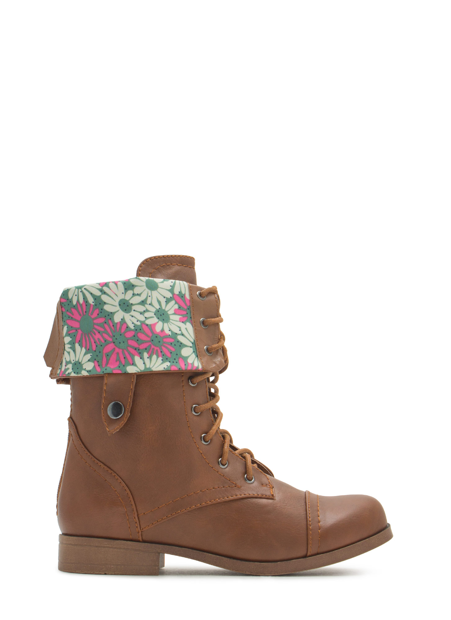 Cuff It Down Lace-Up Boots COGNAC
