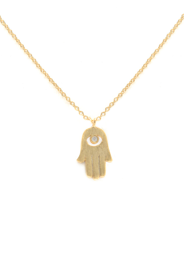 Dainty Metallic Hamsa Necklace MATTEGOLD