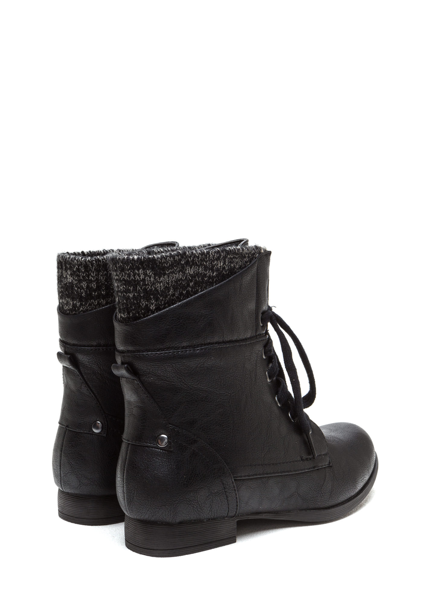 Sweater Weather Cuffed Lace-Up Boots BLACK