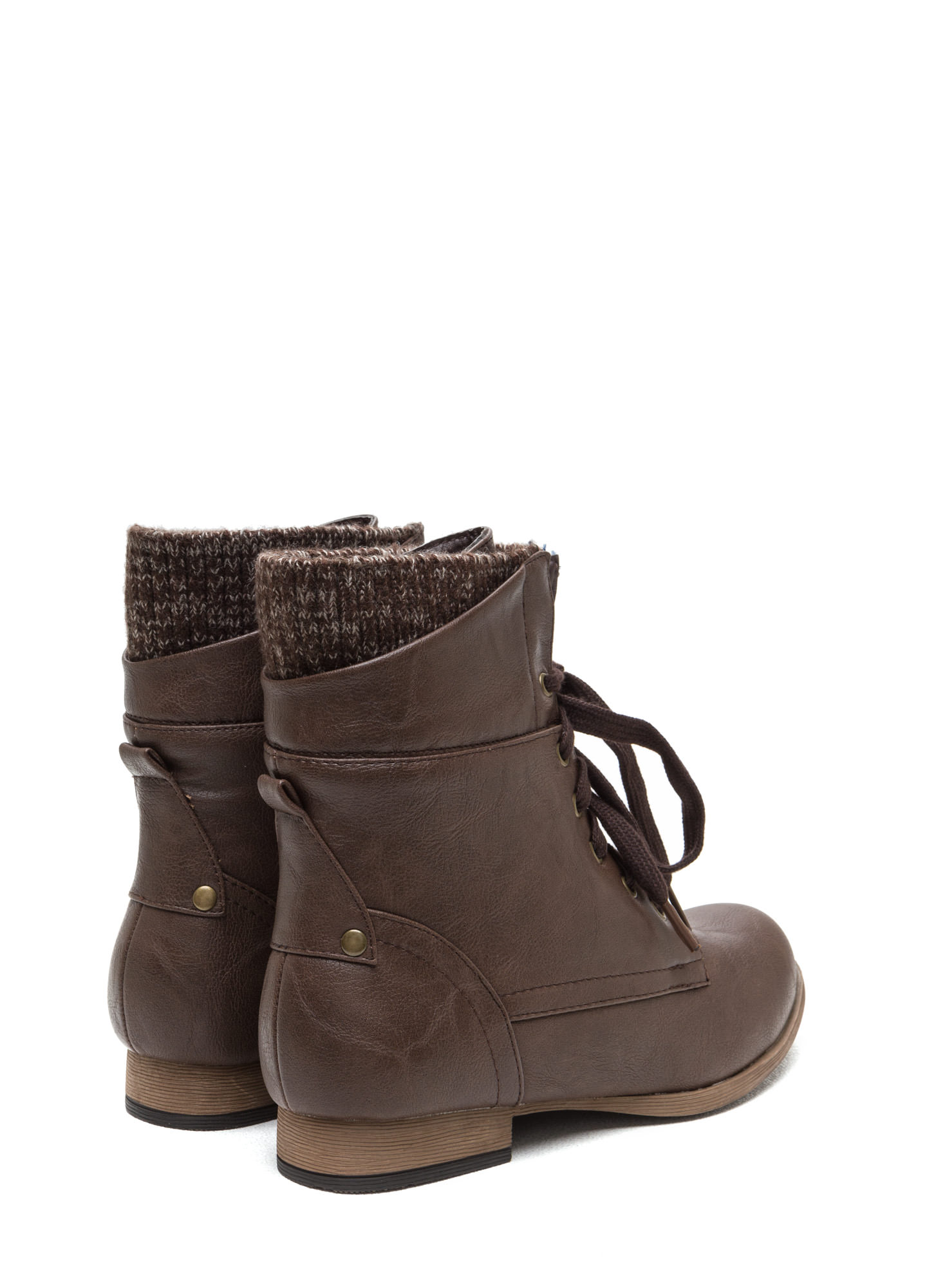 Sweater Weather Cuffed Lace-Up Boots BROWN