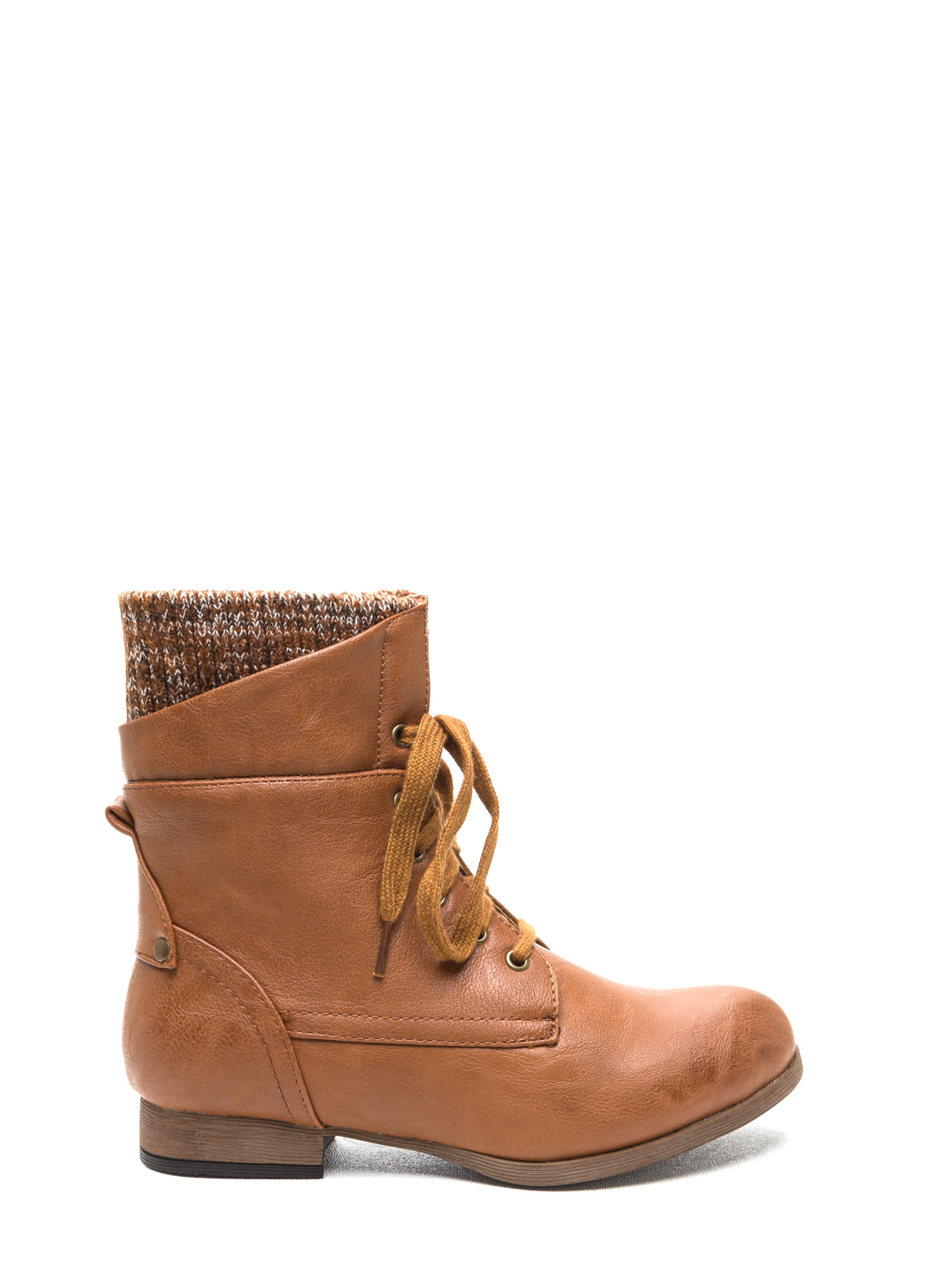 Sweater Weather Cuffed Lace-Up Boots COGNAC