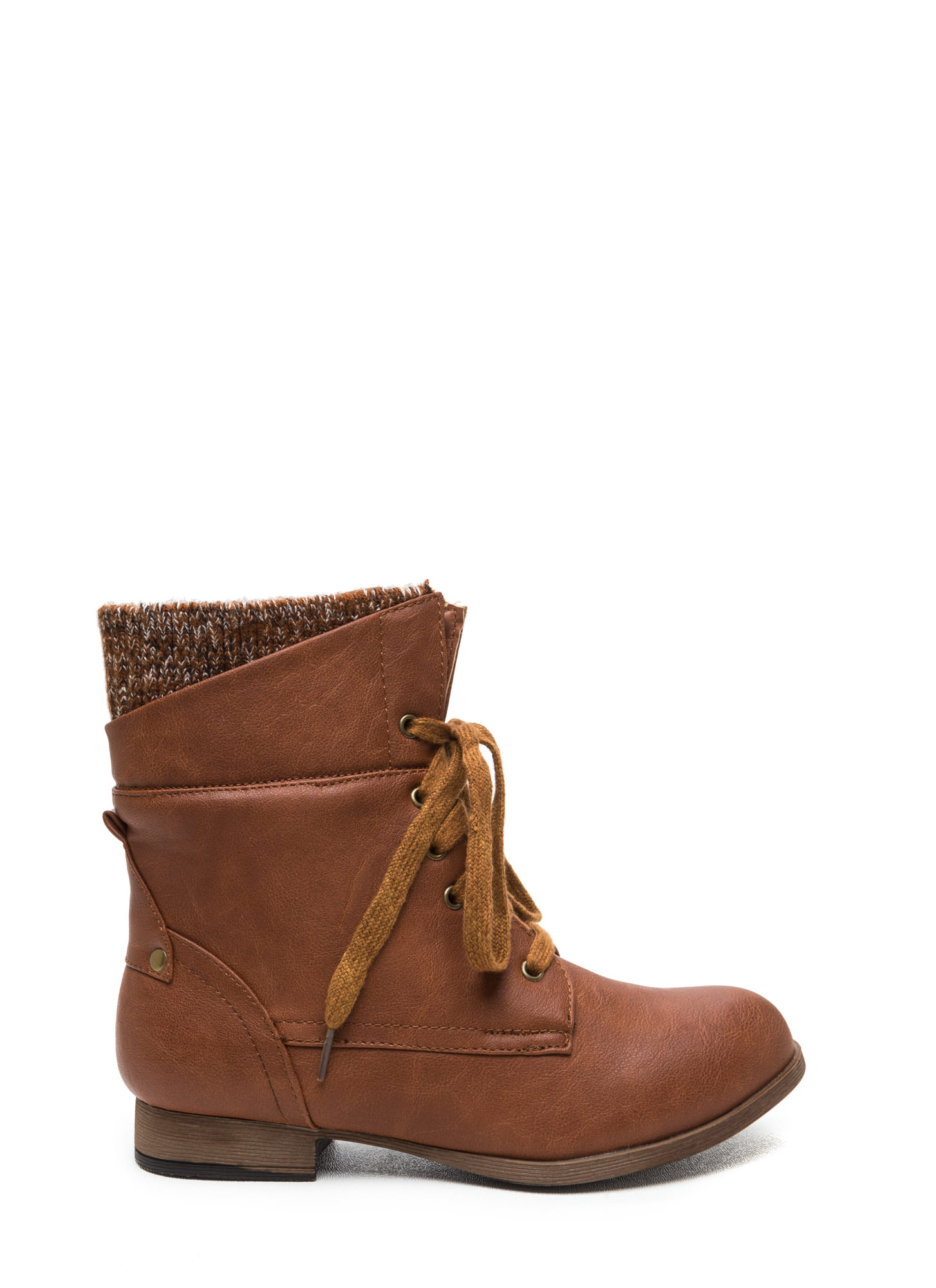 Sweater Weather Cuffed Lace-Up Boots WHISKY