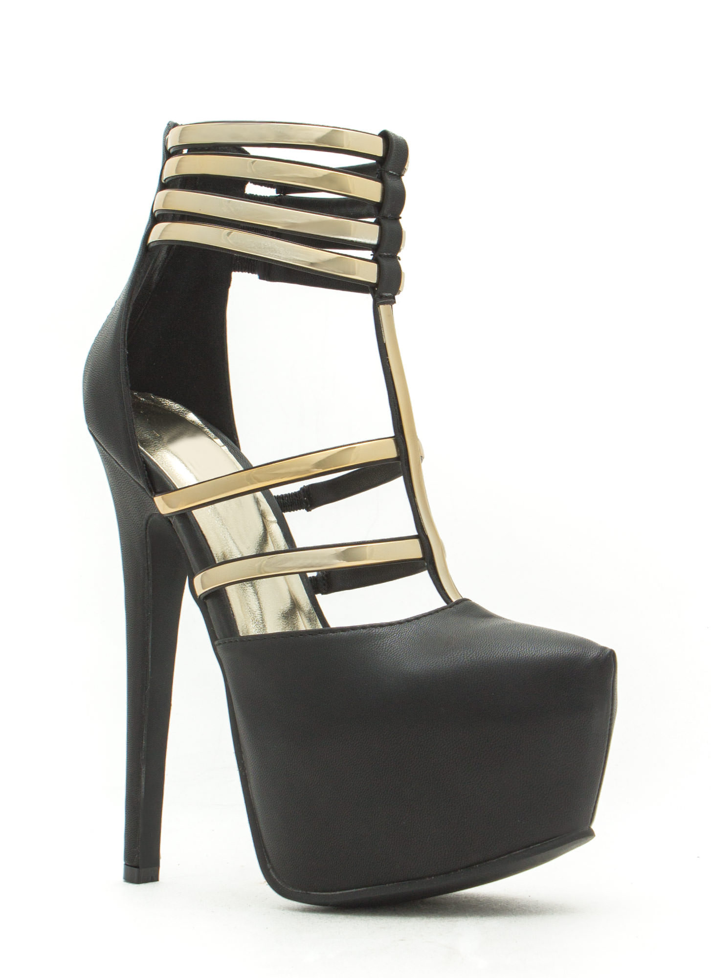 Flash Of Metal Platform Heels BLACK