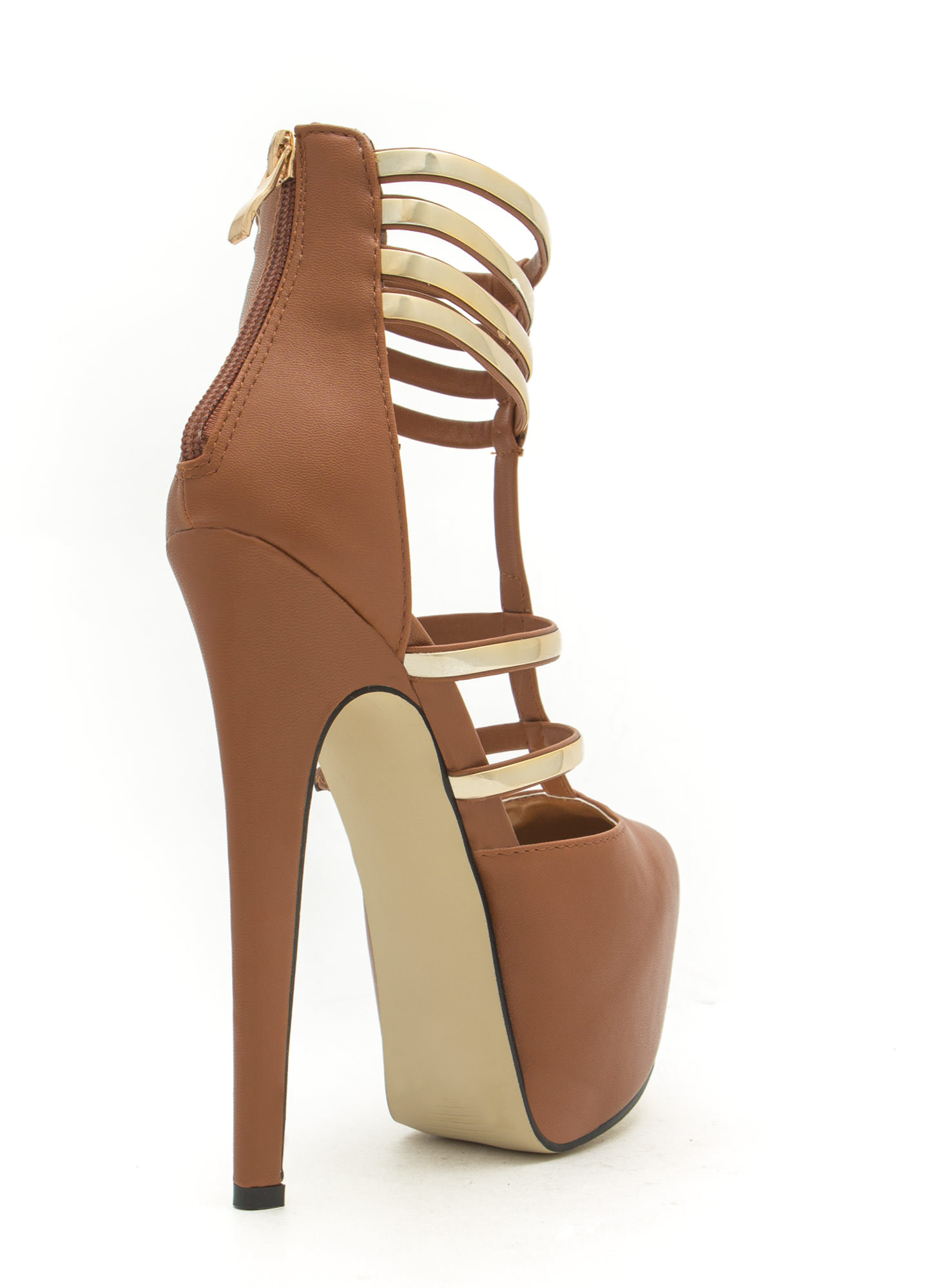 Flash Of Metal Platform Heels LTBRWN