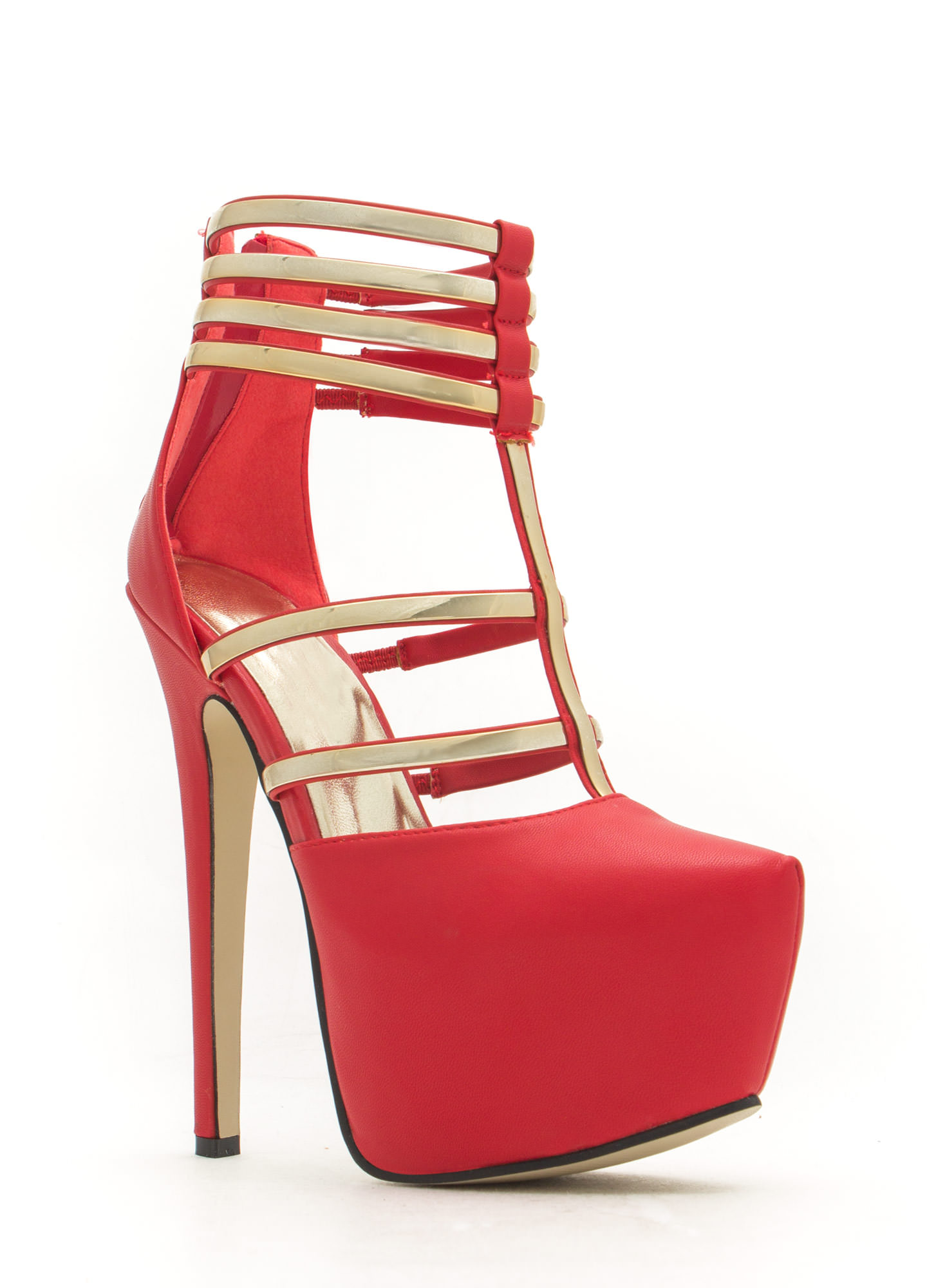 Flash Of Metal Platform Heels RED