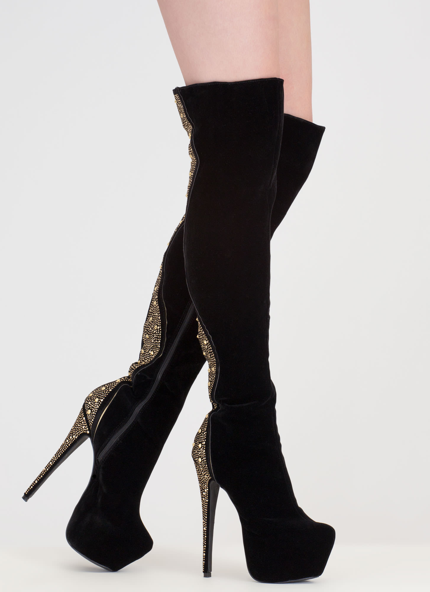 On A Curve Studded Over-The-Knee Boots BLACK