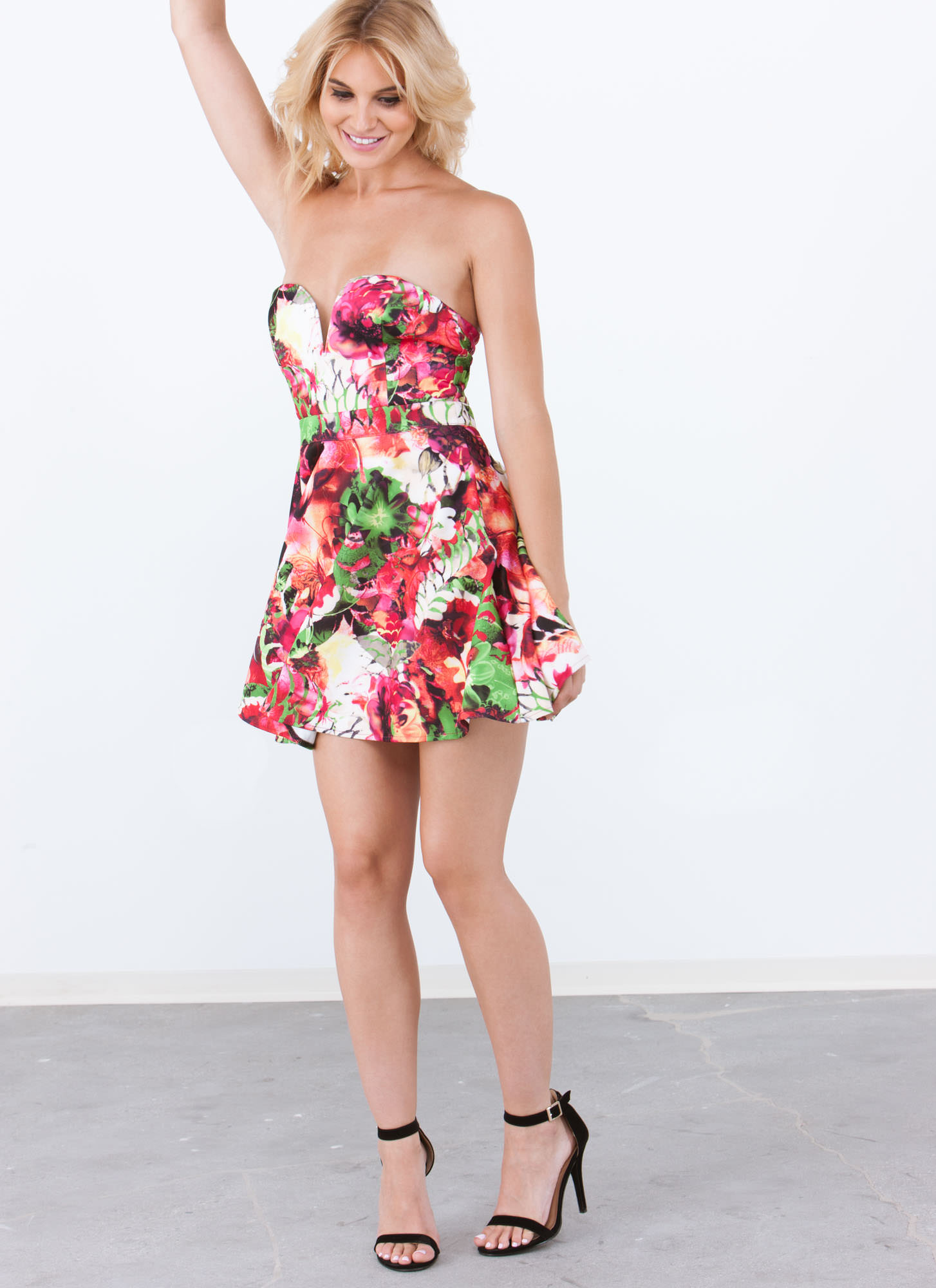 Tropical Sweetheart Strapless Dress PINK