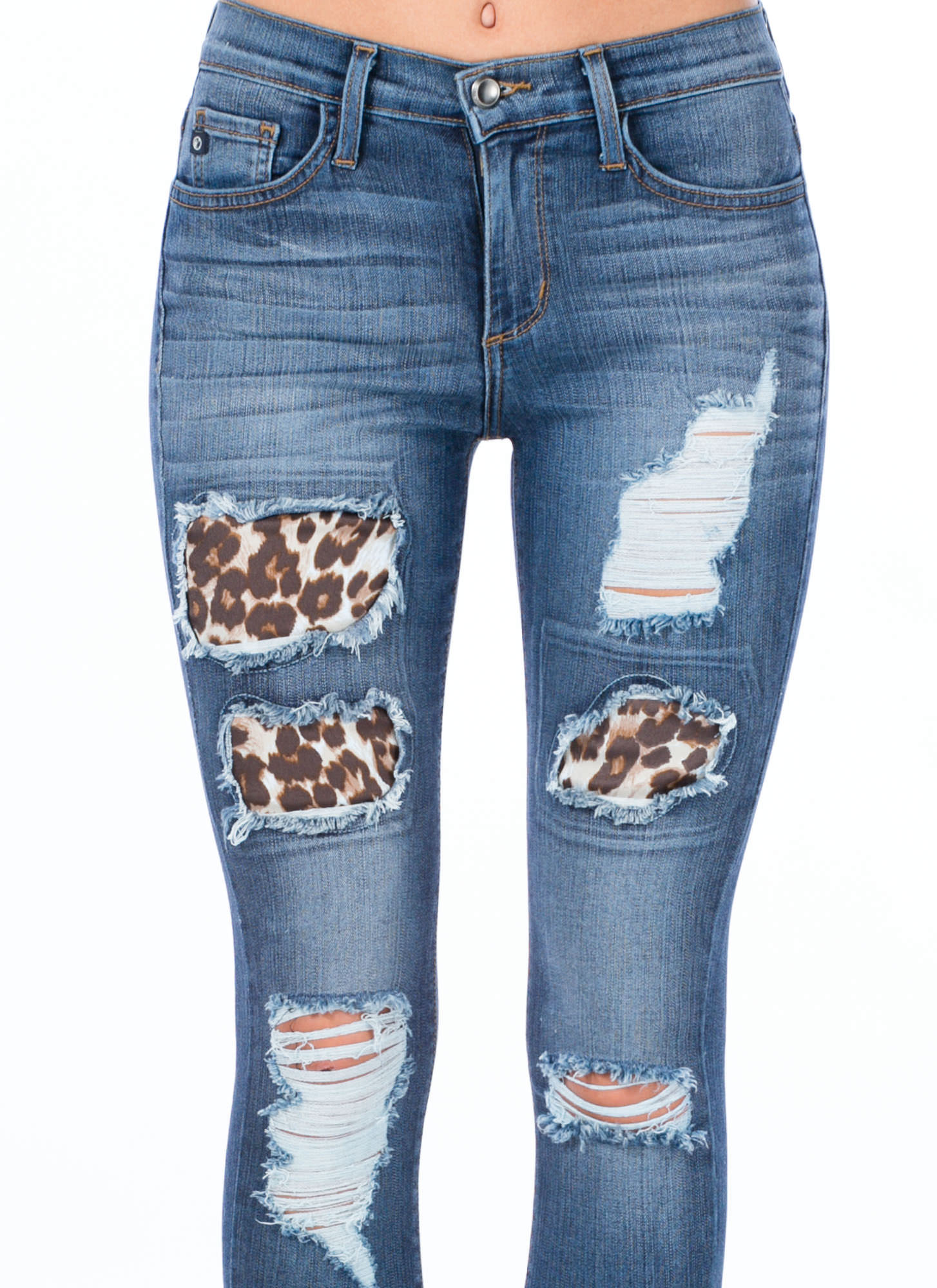 Leopard Inset Cut-Out Jeans BLUE