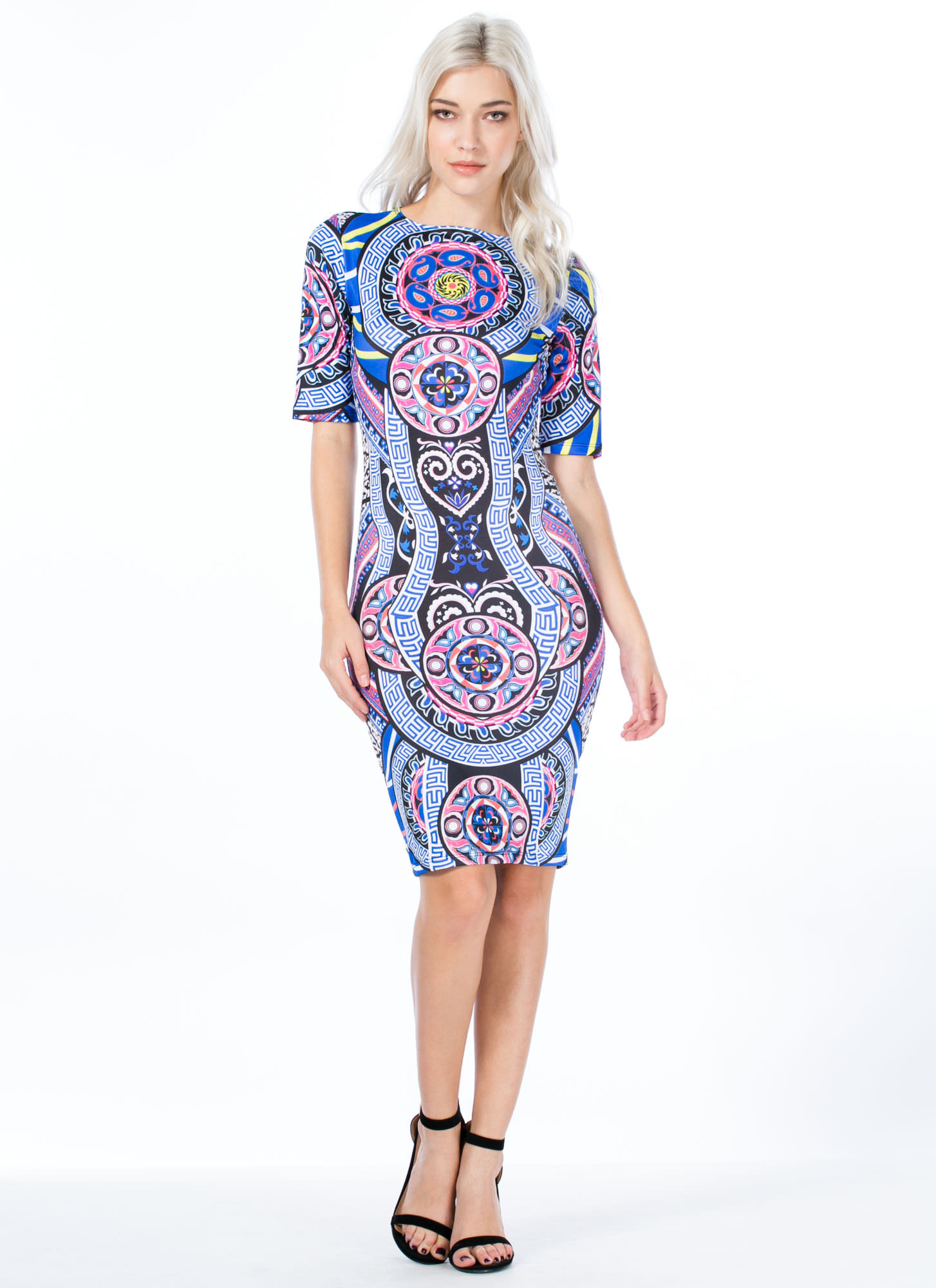 Geo Kaleidoscope Bodycon Dress MULTI