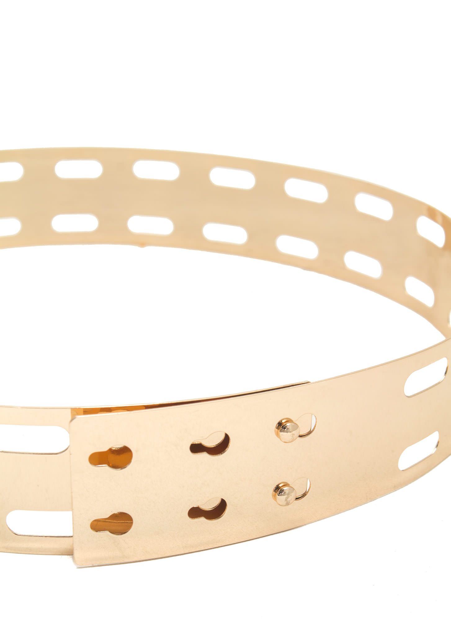 Oblong Cut-Out Metal Belt GOLD