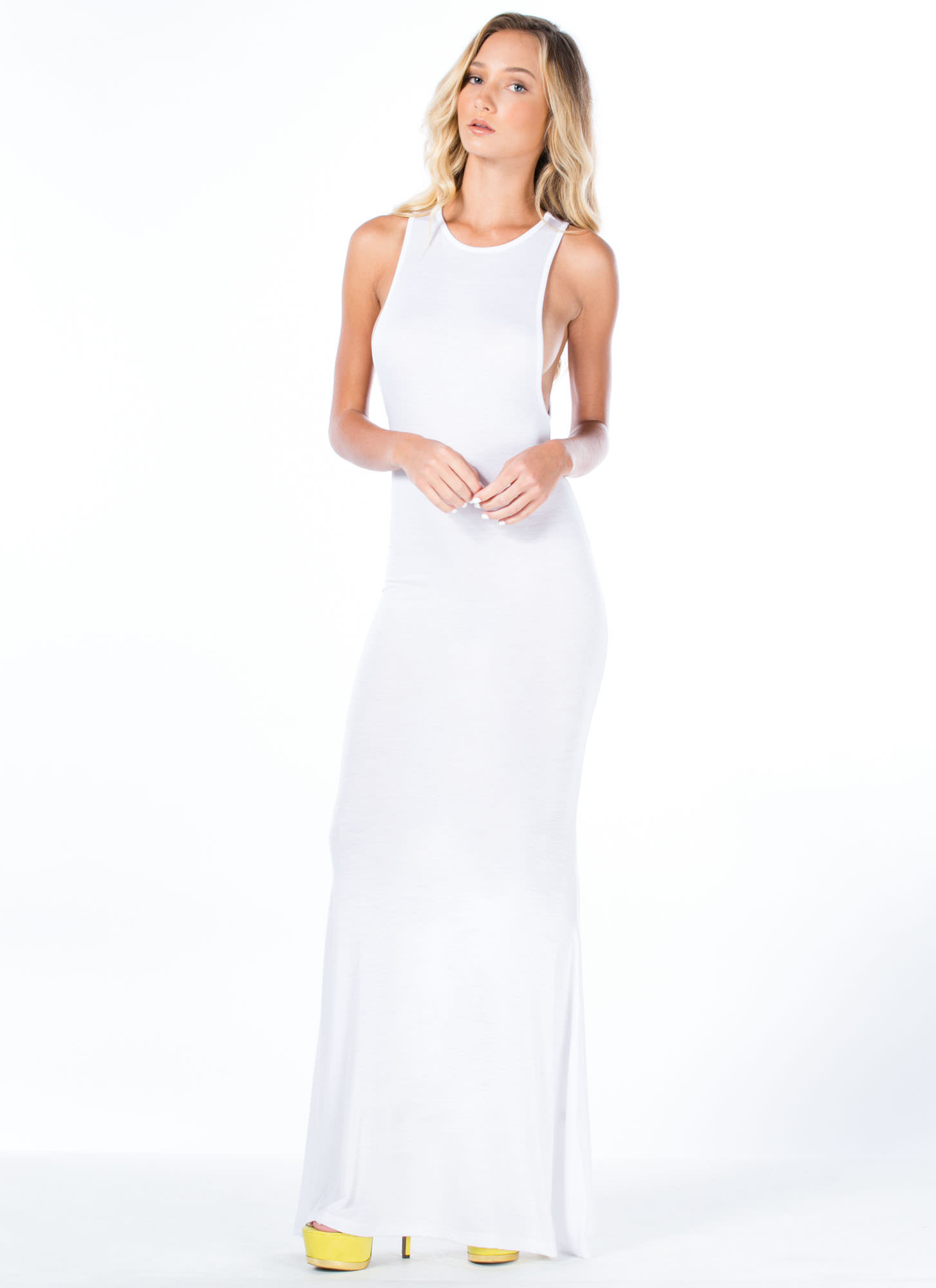 Flex Your Muscle Tank Mermaid Maxi WHITE
