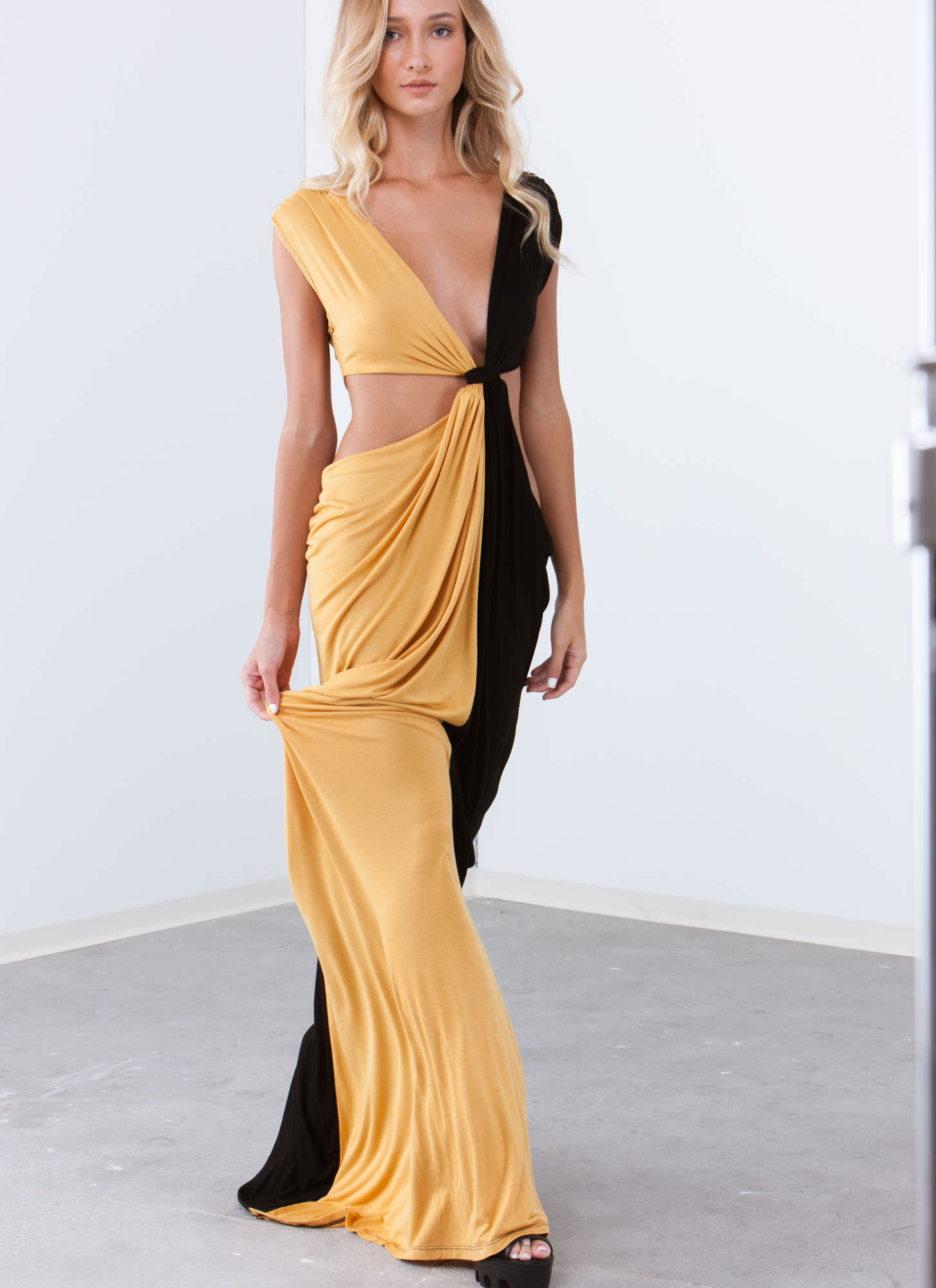 Loves Me Knot Draped Two-Tone Maxi MUSTARD