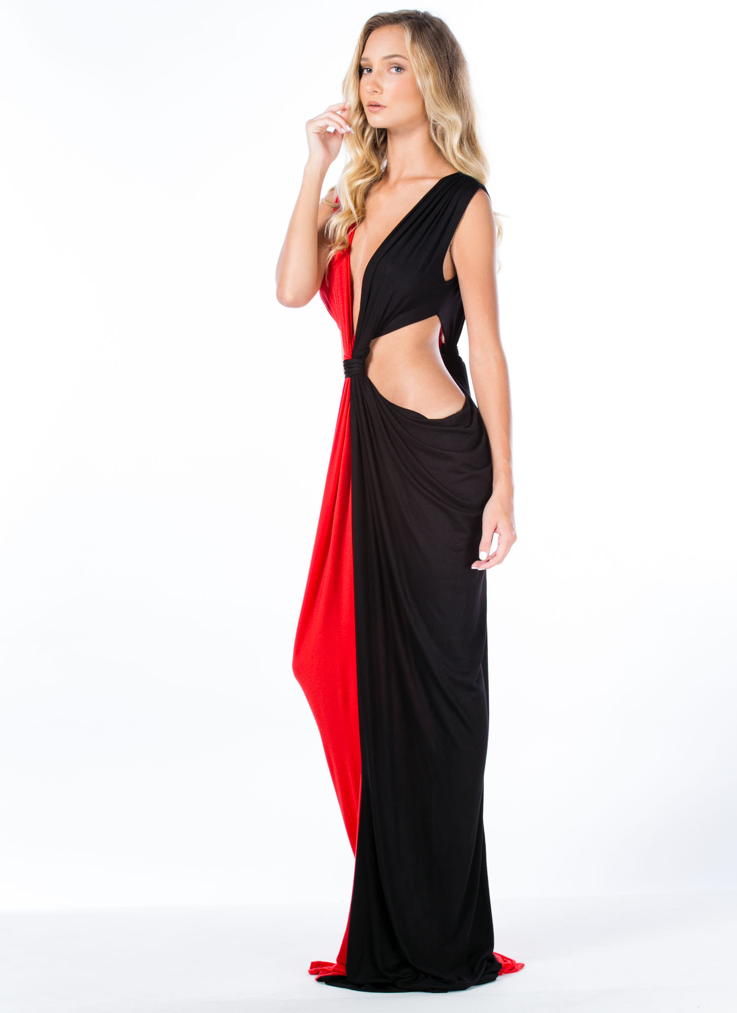 Loves Me Knot Draped Two-Tone Maxi RED