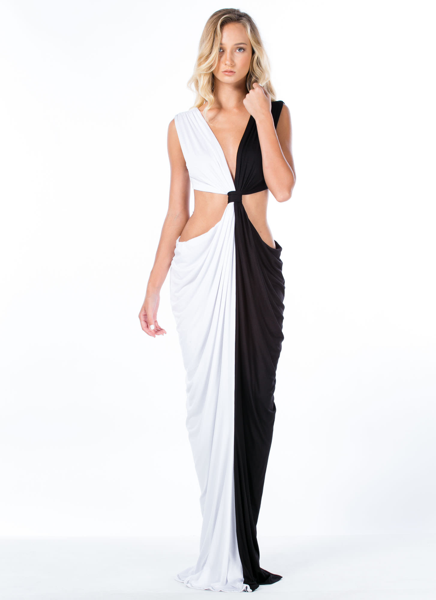 Loves Me Knot Draped Two-Tone Maxi WHITE