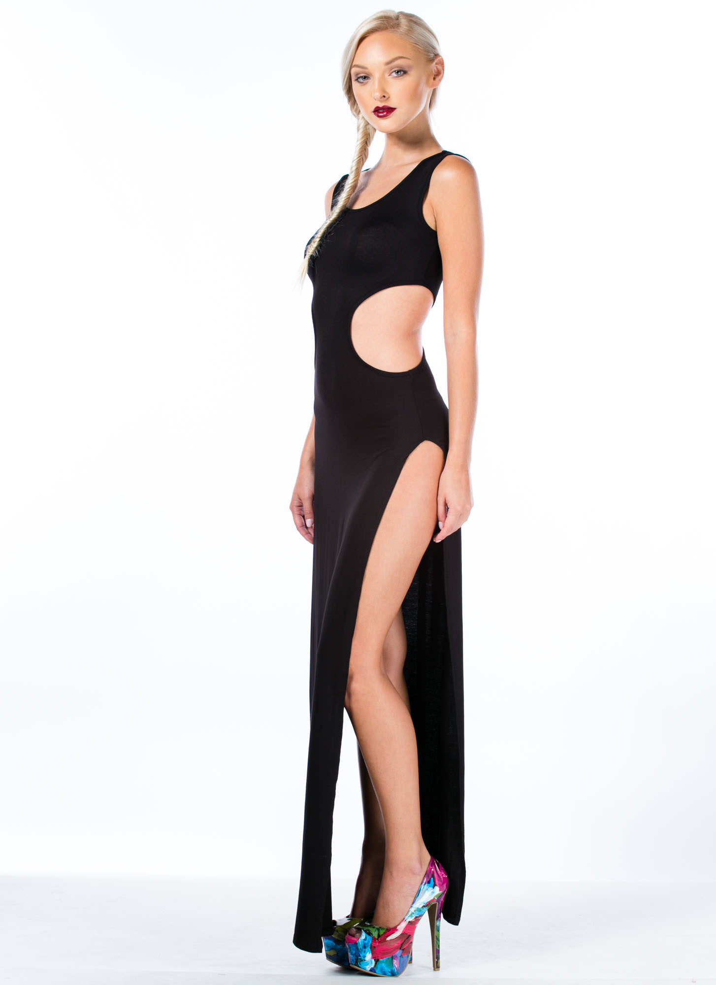 So Knot Cool Double Slit Maxi Dress BLACK