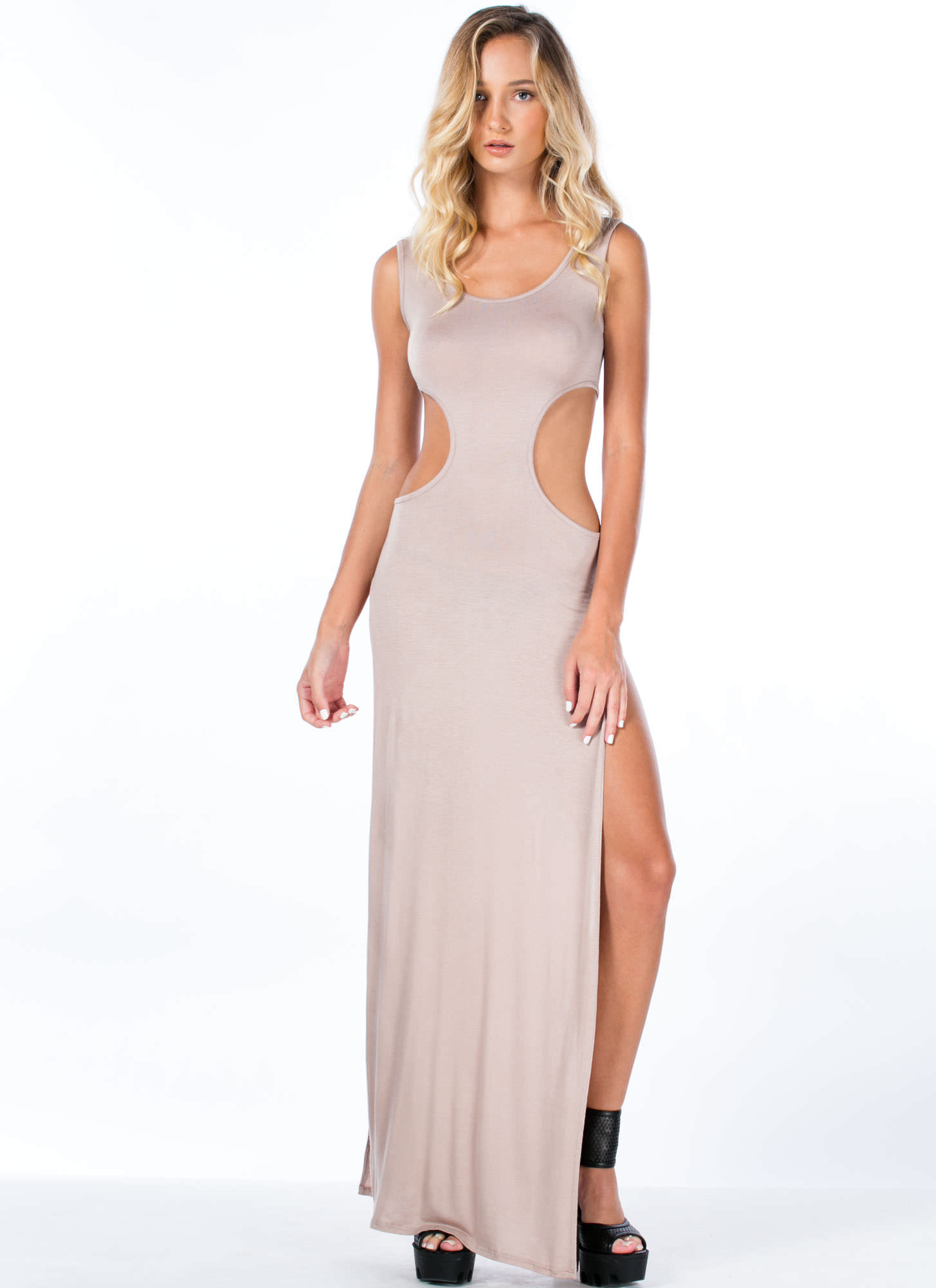 So Knot Cool Double Slit Maxi Dress TAUPE