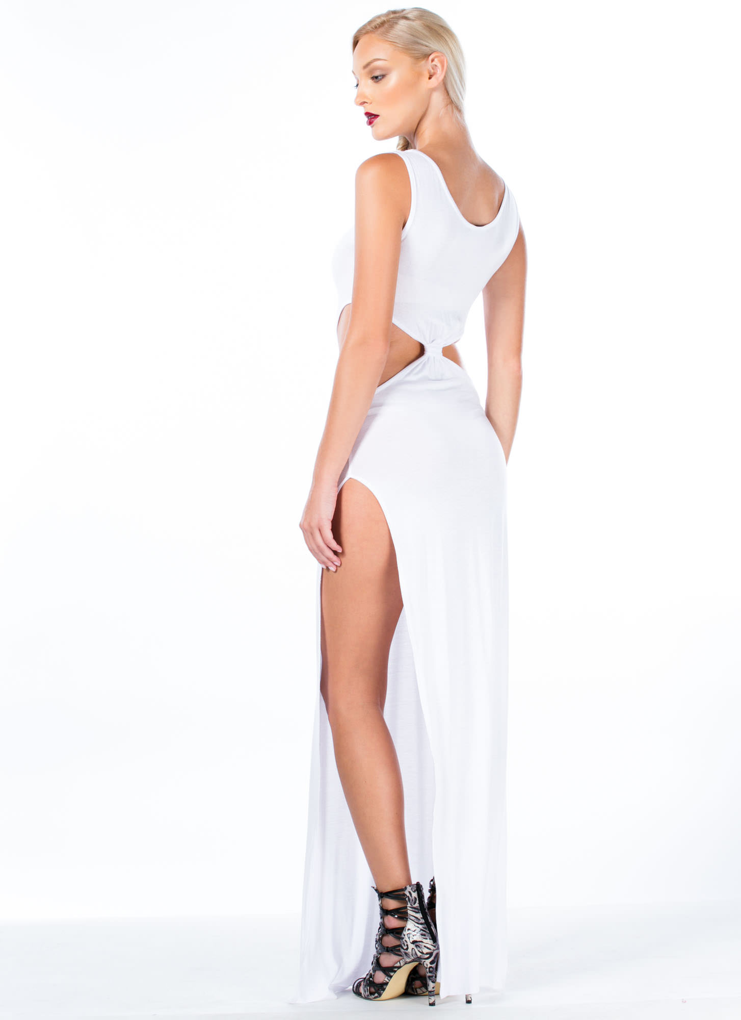 So Knot Cool Double Slit Maxi Dress WHITE
