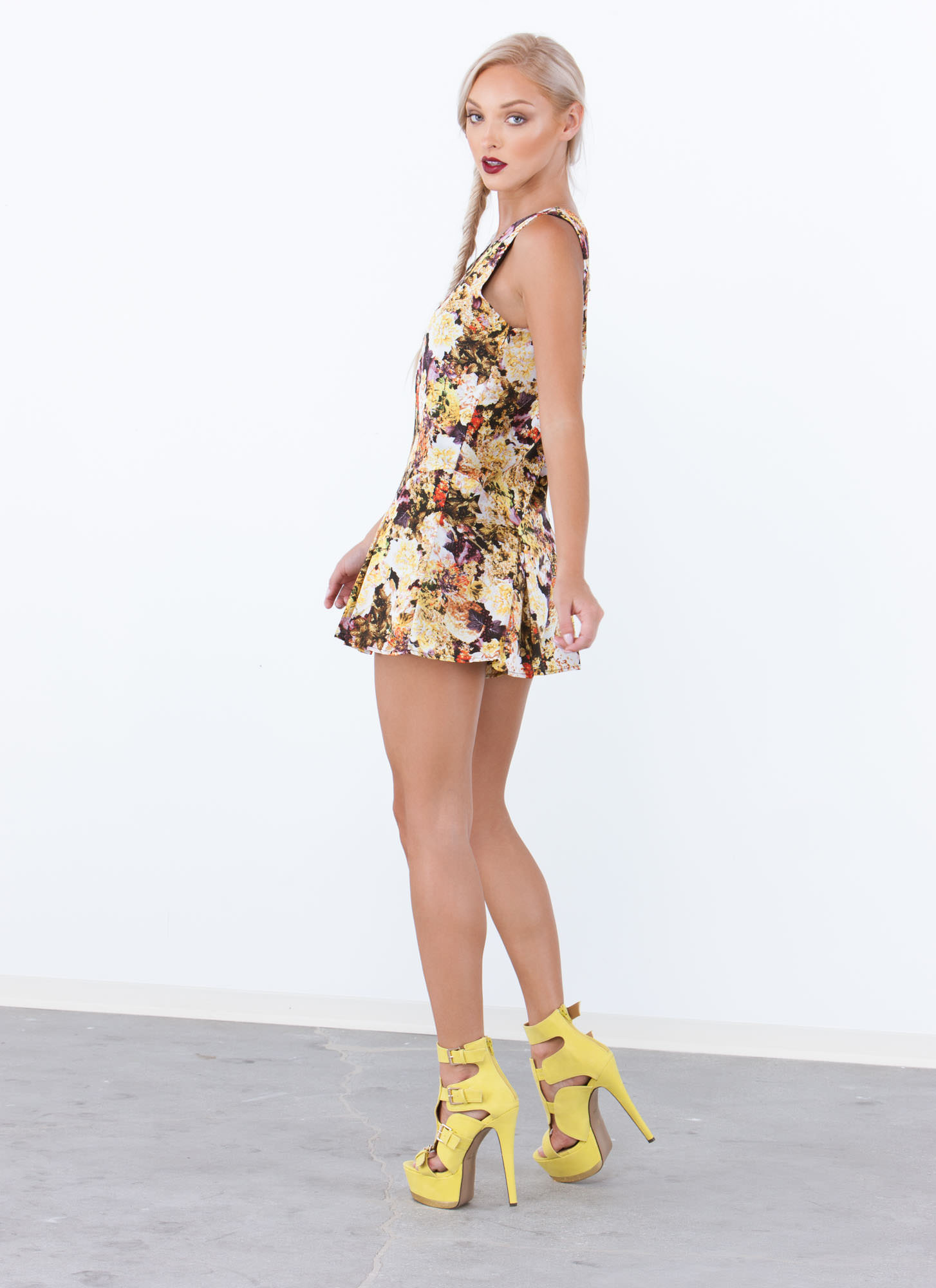 Whimsy Garden Pleated V-Neck Romper YELLOW