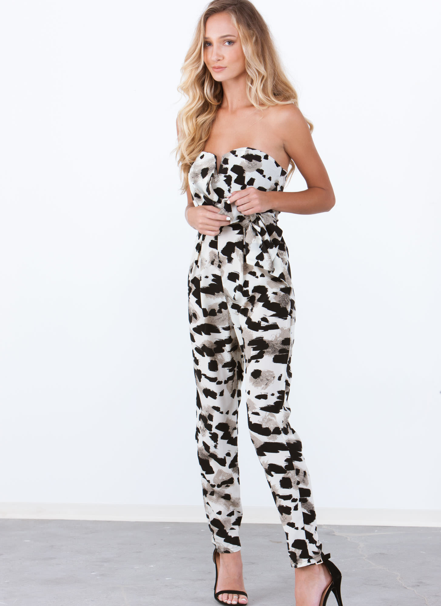 Brushstroke Masterpiece Printed Jumpsuit STONE