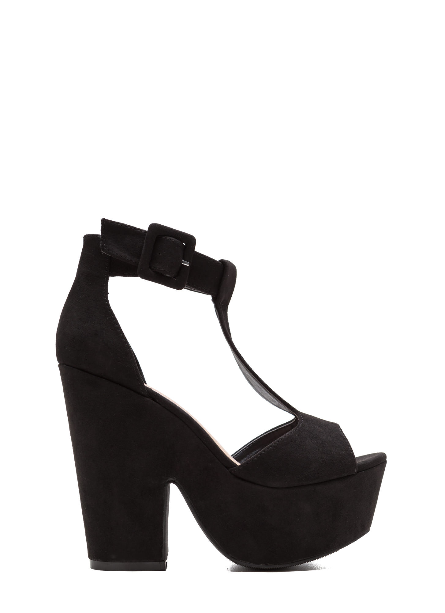 Thru Thick 'N Thin Faux Suede Heels BLACK