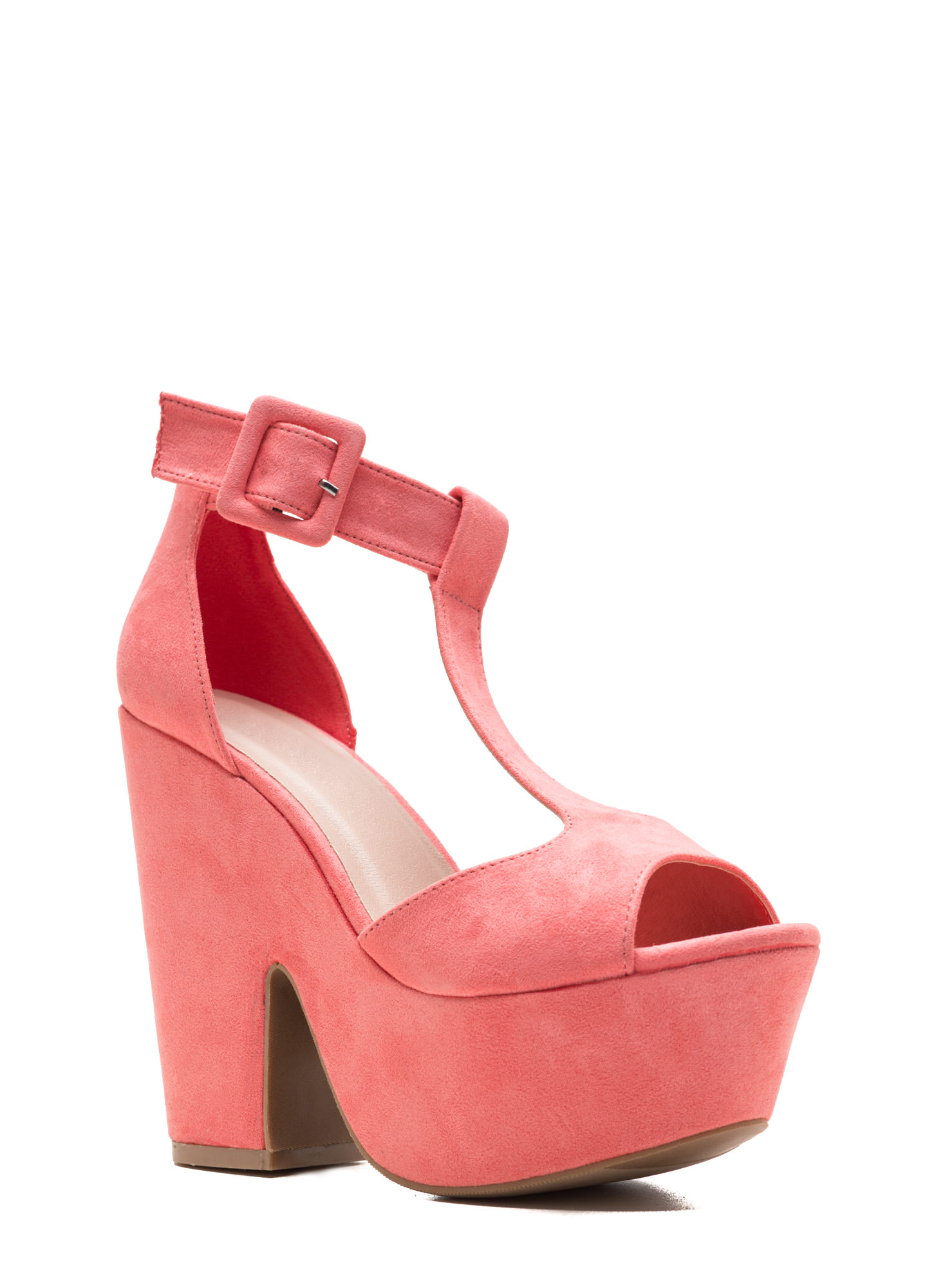 Thru Thick 'N Thin Faux Suede Heels BLUSH