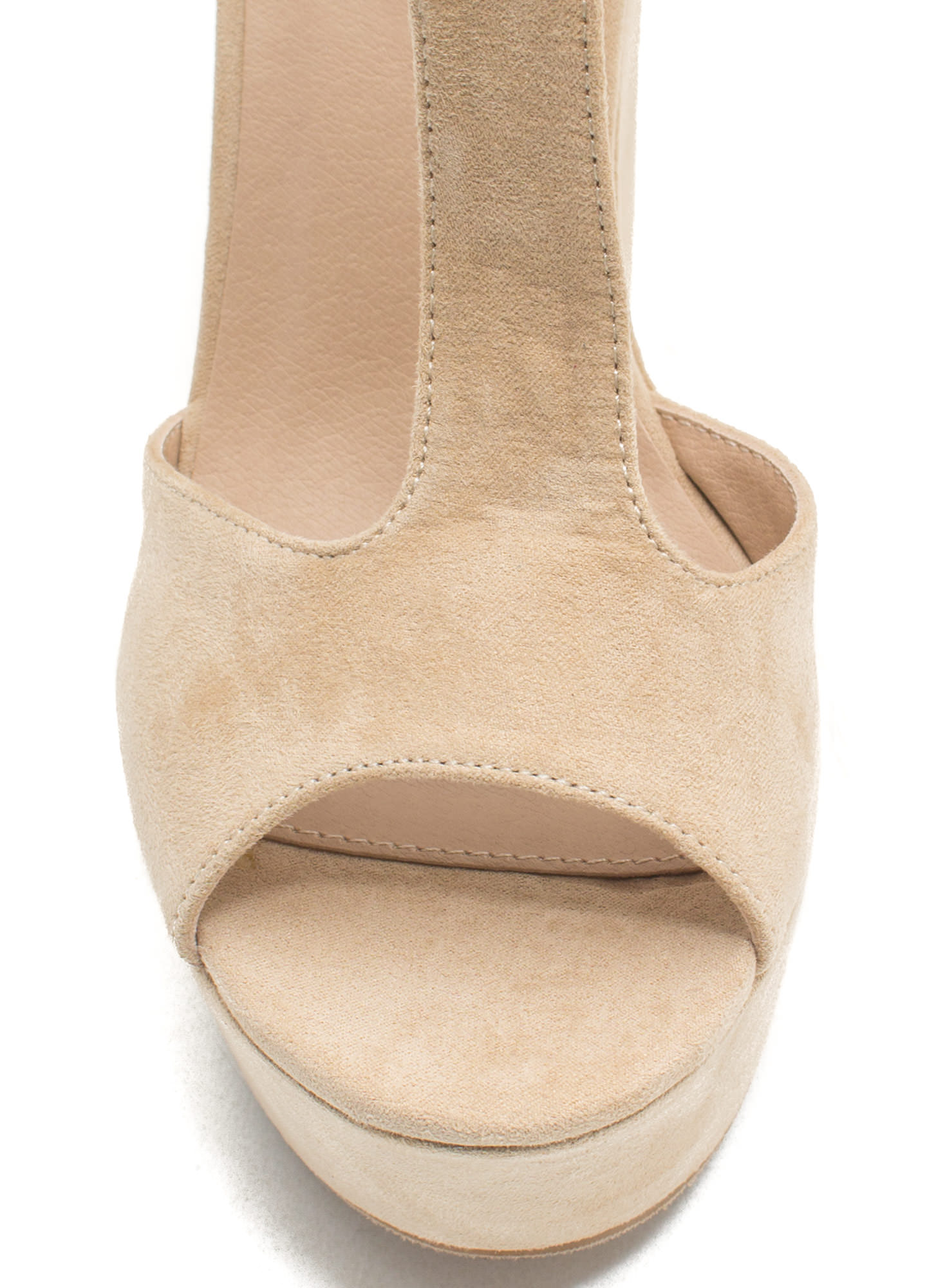 Thru Thick 'N Thin Faux Suede Heels NATURAL
