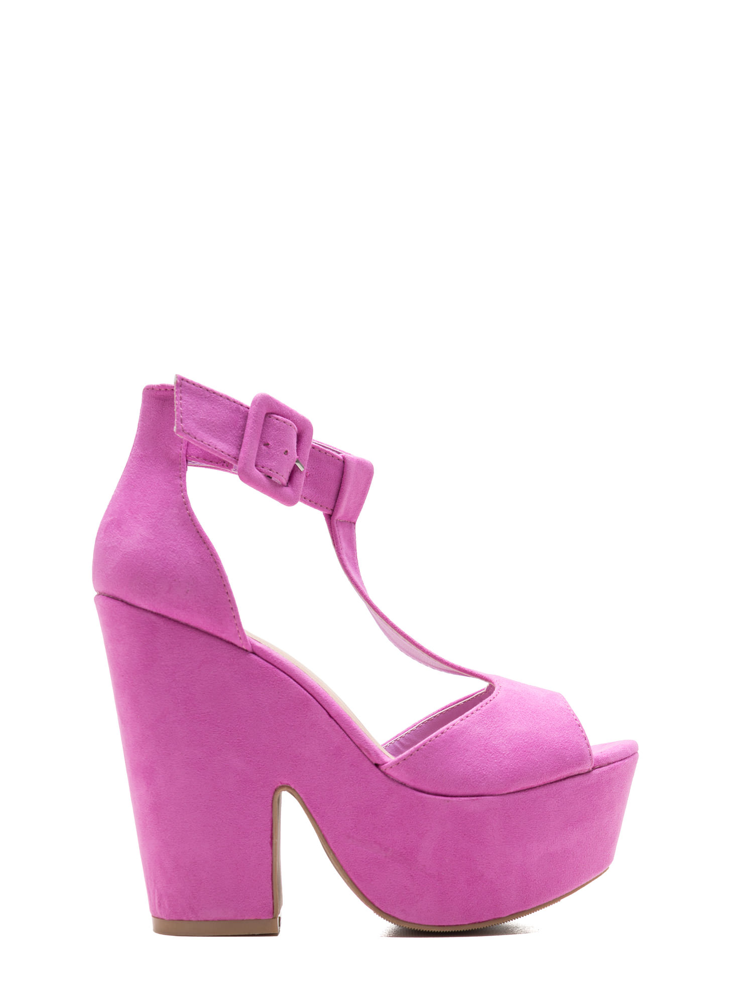 Thru Thick 'N Thin Faux Suede Heels ORCHID