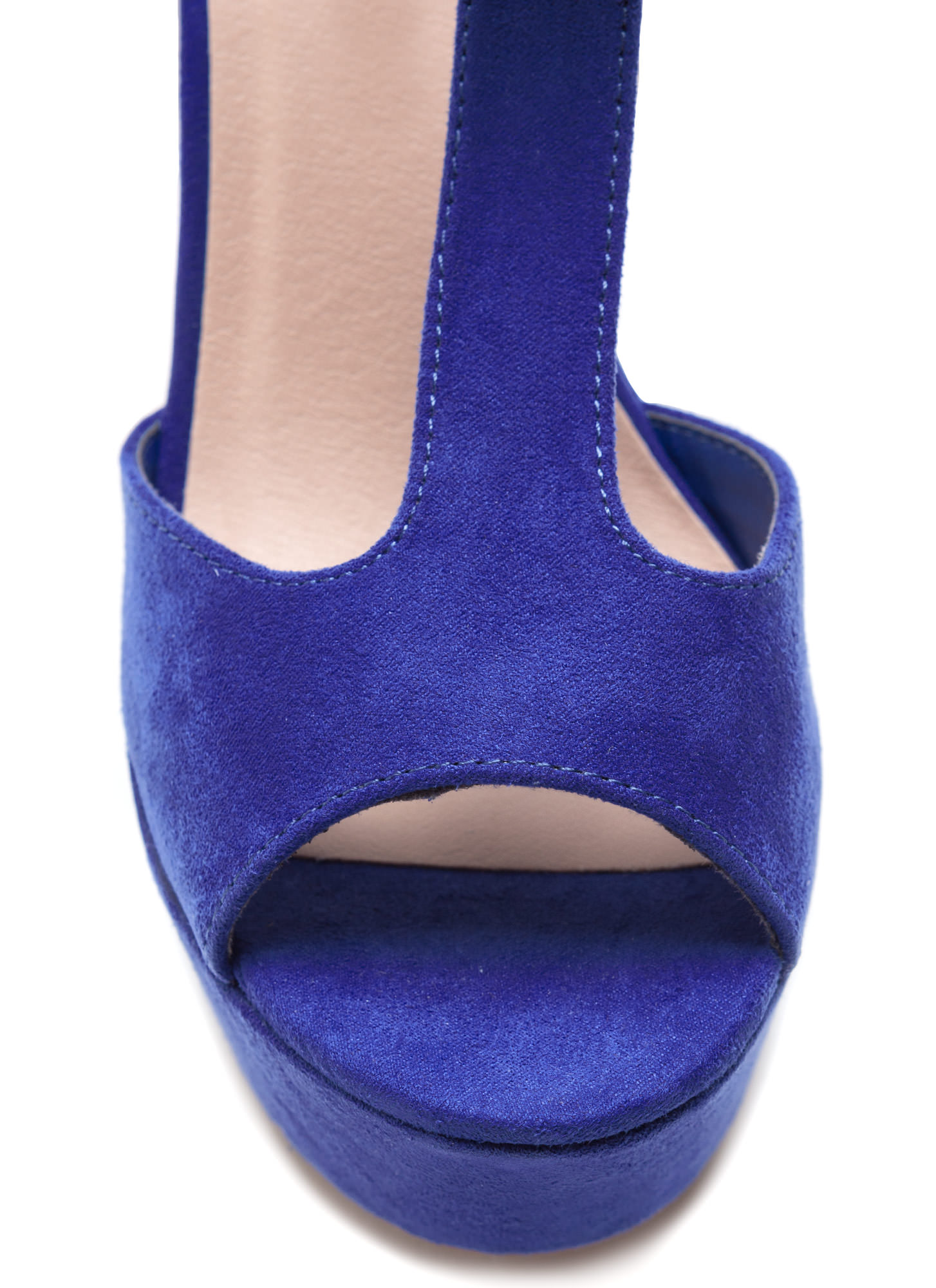 Thru Thick 'N Thin Faux Suede Heels ROYAL