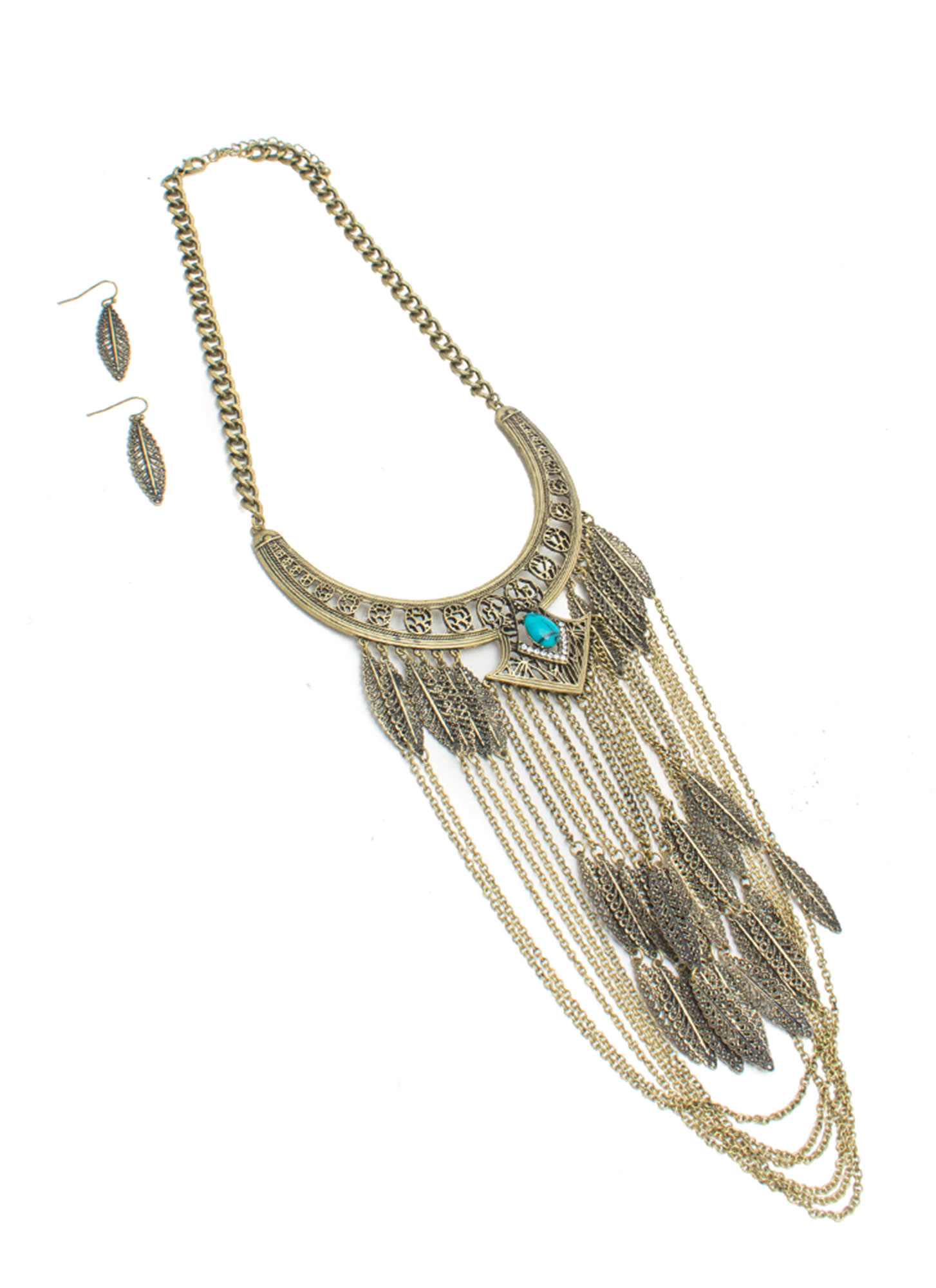 Leafy Tribal Goddess Necklace Set DKGOLD