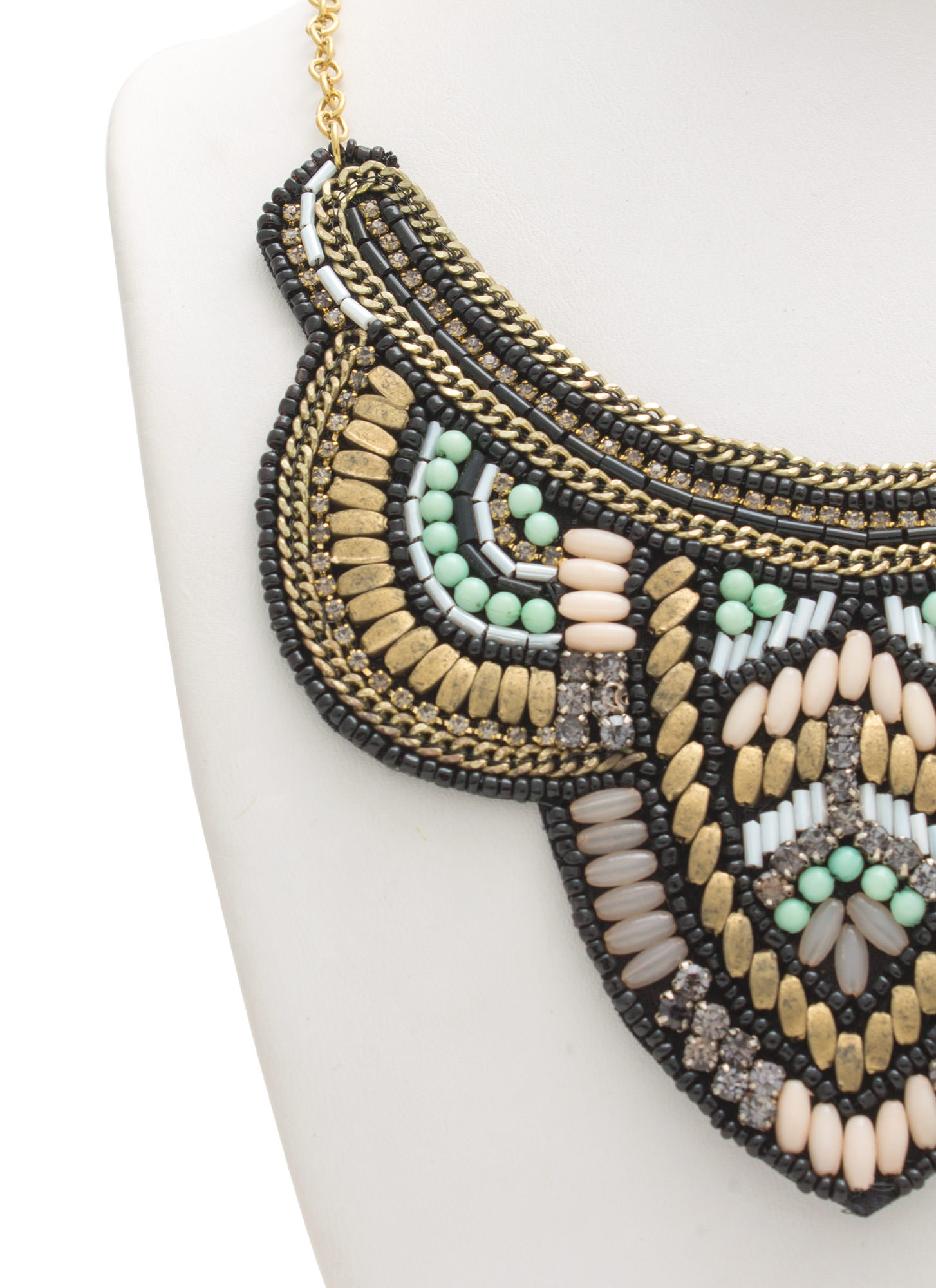 Aztec Glam Beaded 'N Chained Bib Necklace BLKMULTI
