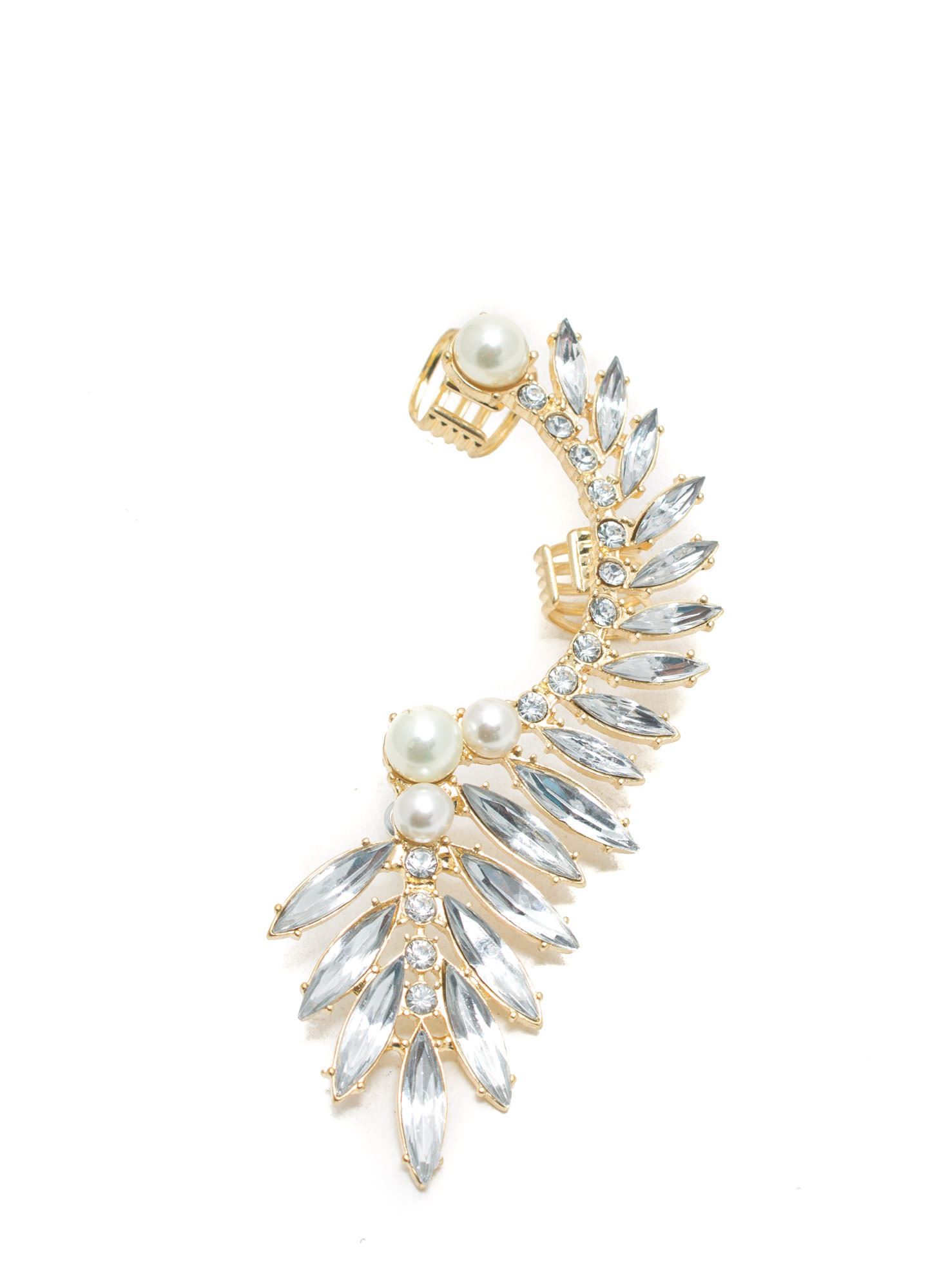 Wing It Faux Jewel 'N Faux Pearl Earring Cuff IVORYGOLD