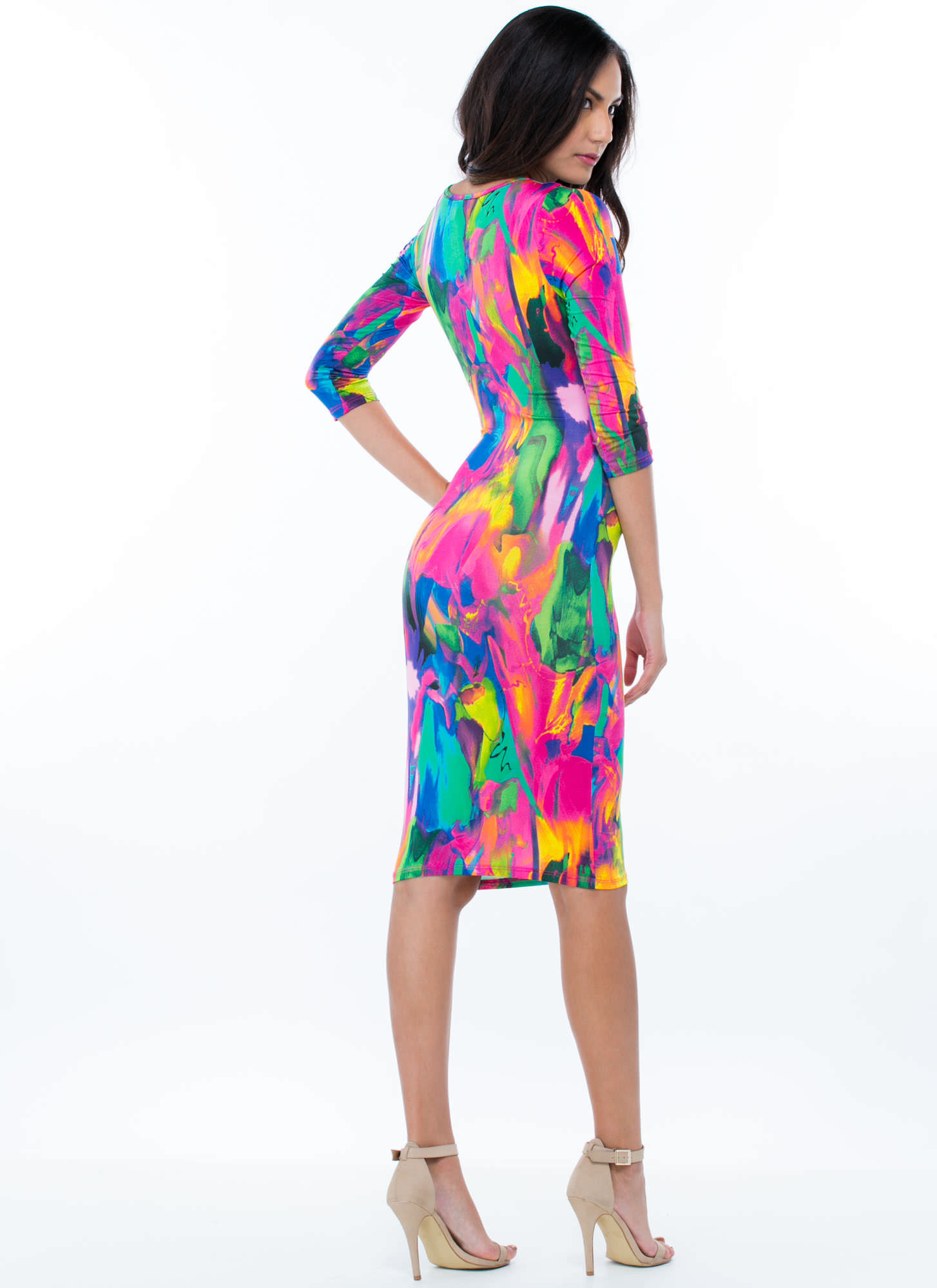 Modern Art Painted Bodycon PINK