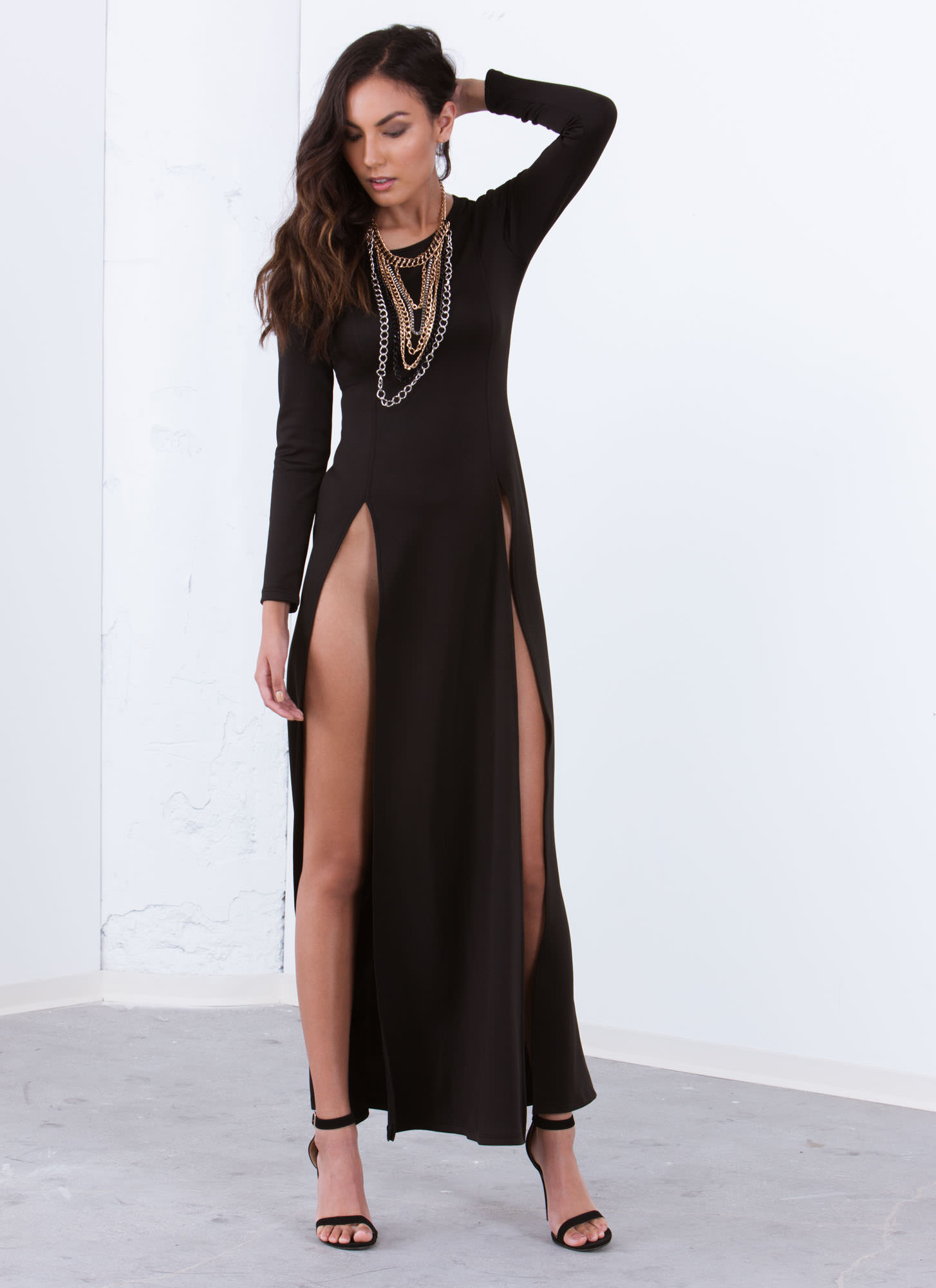 Ultra High Twin Slit Maxi Dress BLACK