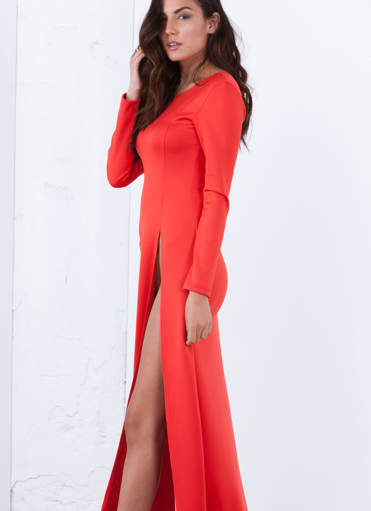 Ultra High Twin Slit Maxi Dress RED