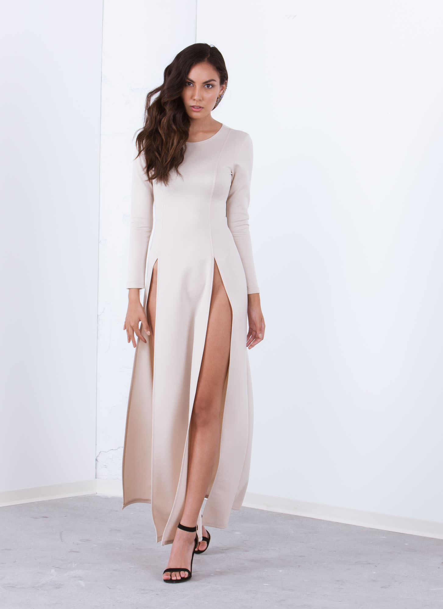 Ultra High Twin Slit Maxi Dress TAUPE