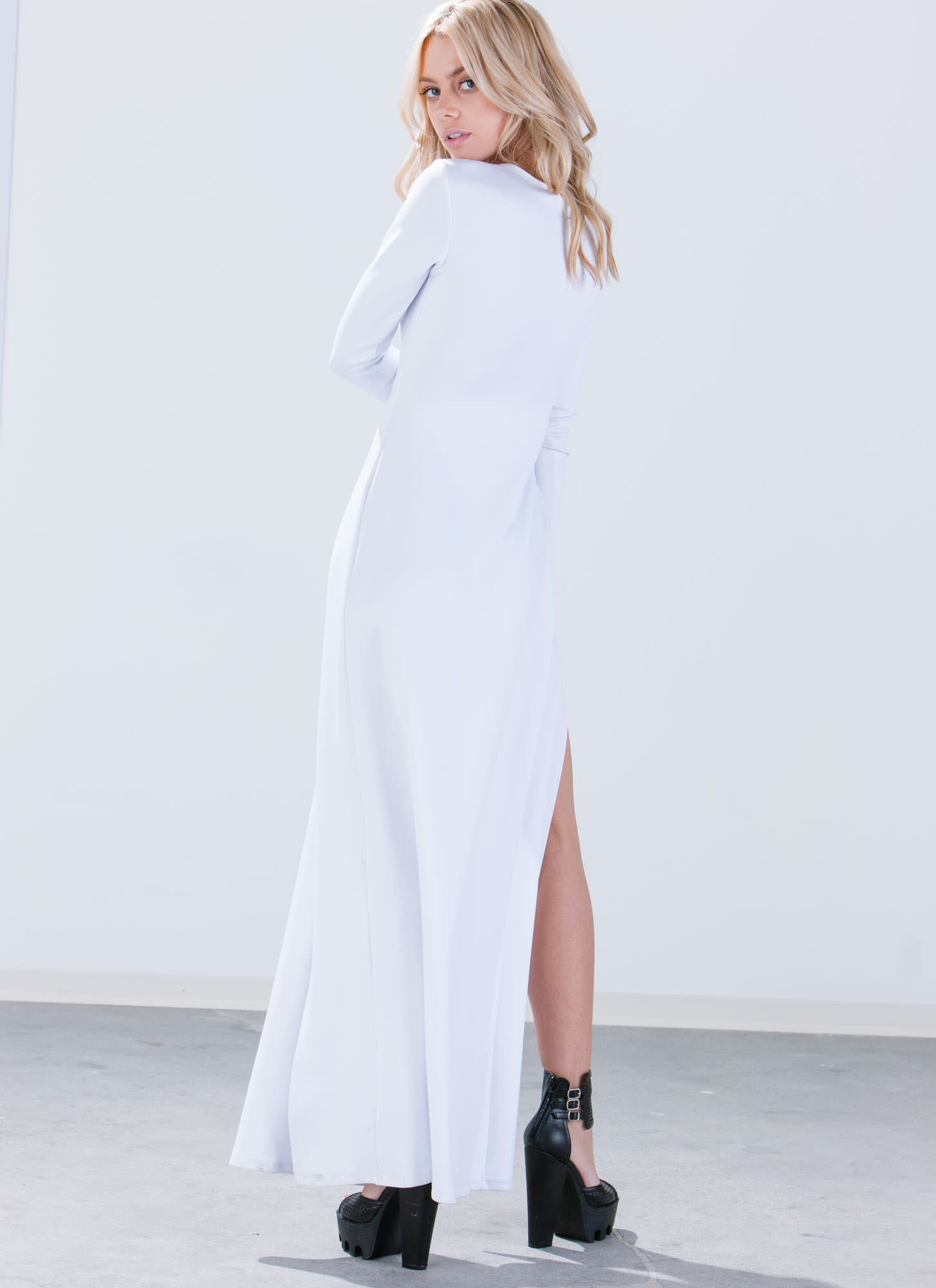 Ultra High Twin Slit Maxi Dress WHITE