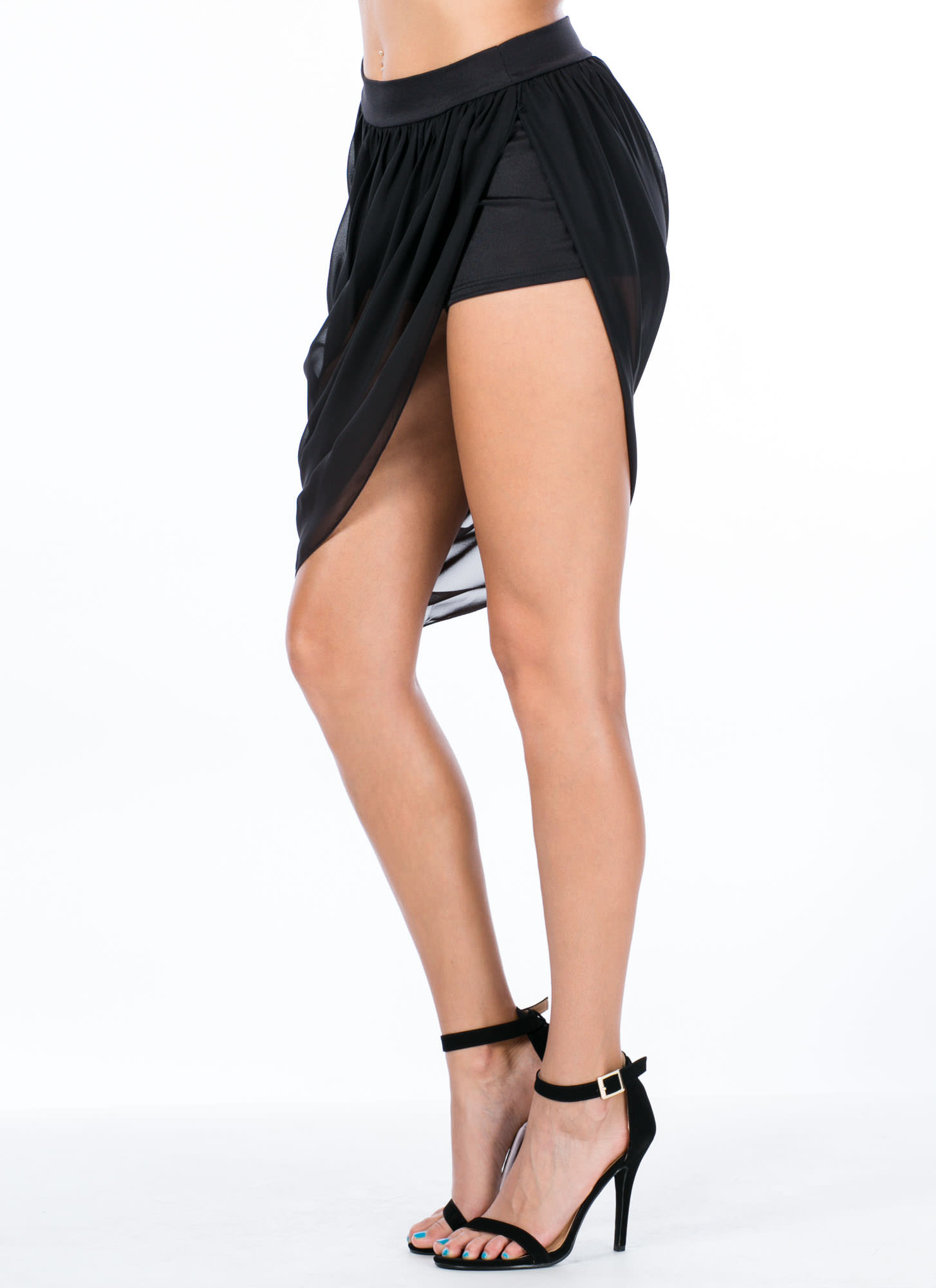 Sheer Bliss Asymmetrical Chiffon Skirt BLACK