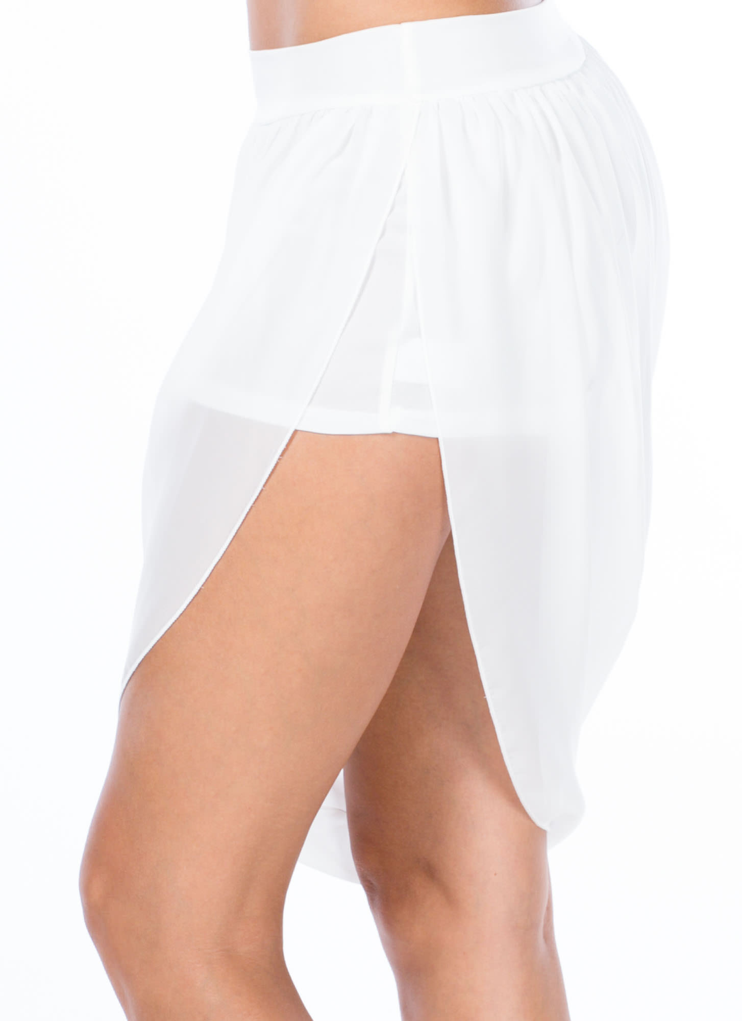 Sheer Bliss Asymmetrical Chiffon Skirt WHITE