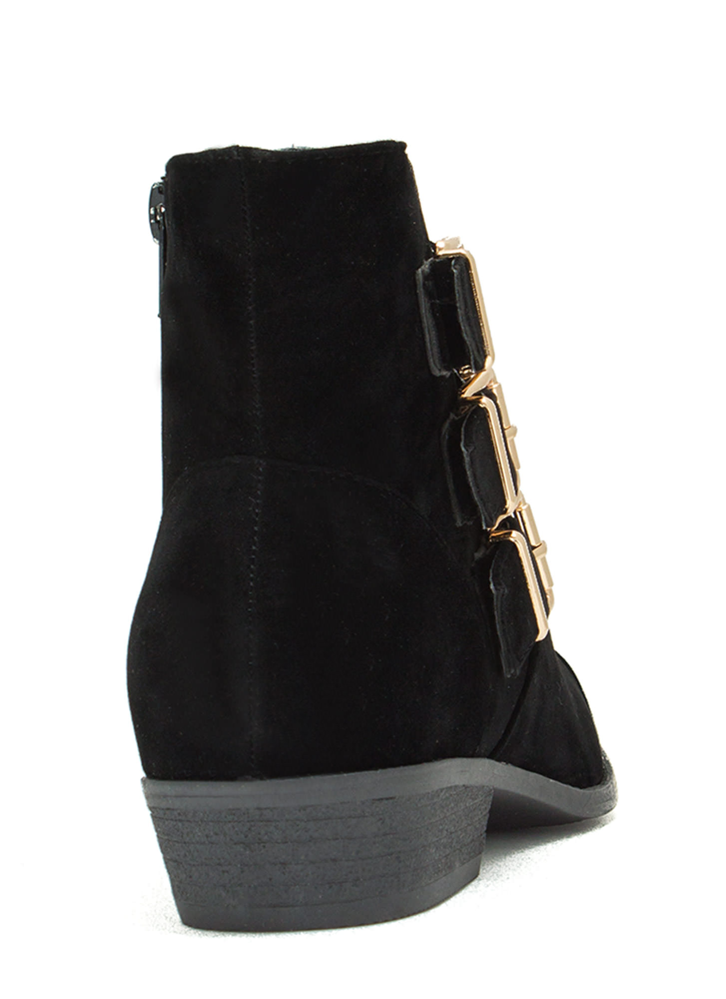 Tri-Buckle 'N Zip Booties BLACK