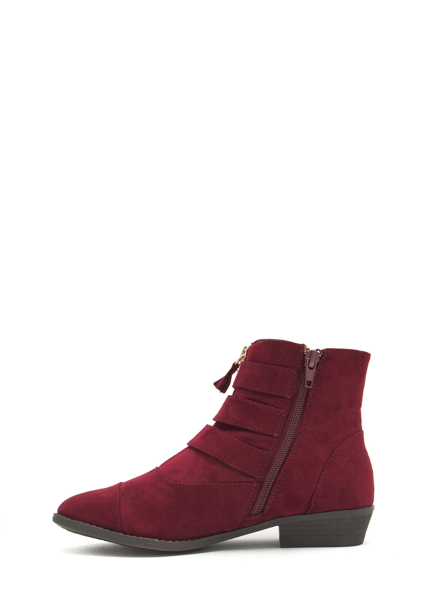 Tri-Buckle 'N Zip Booties OXBLOOD